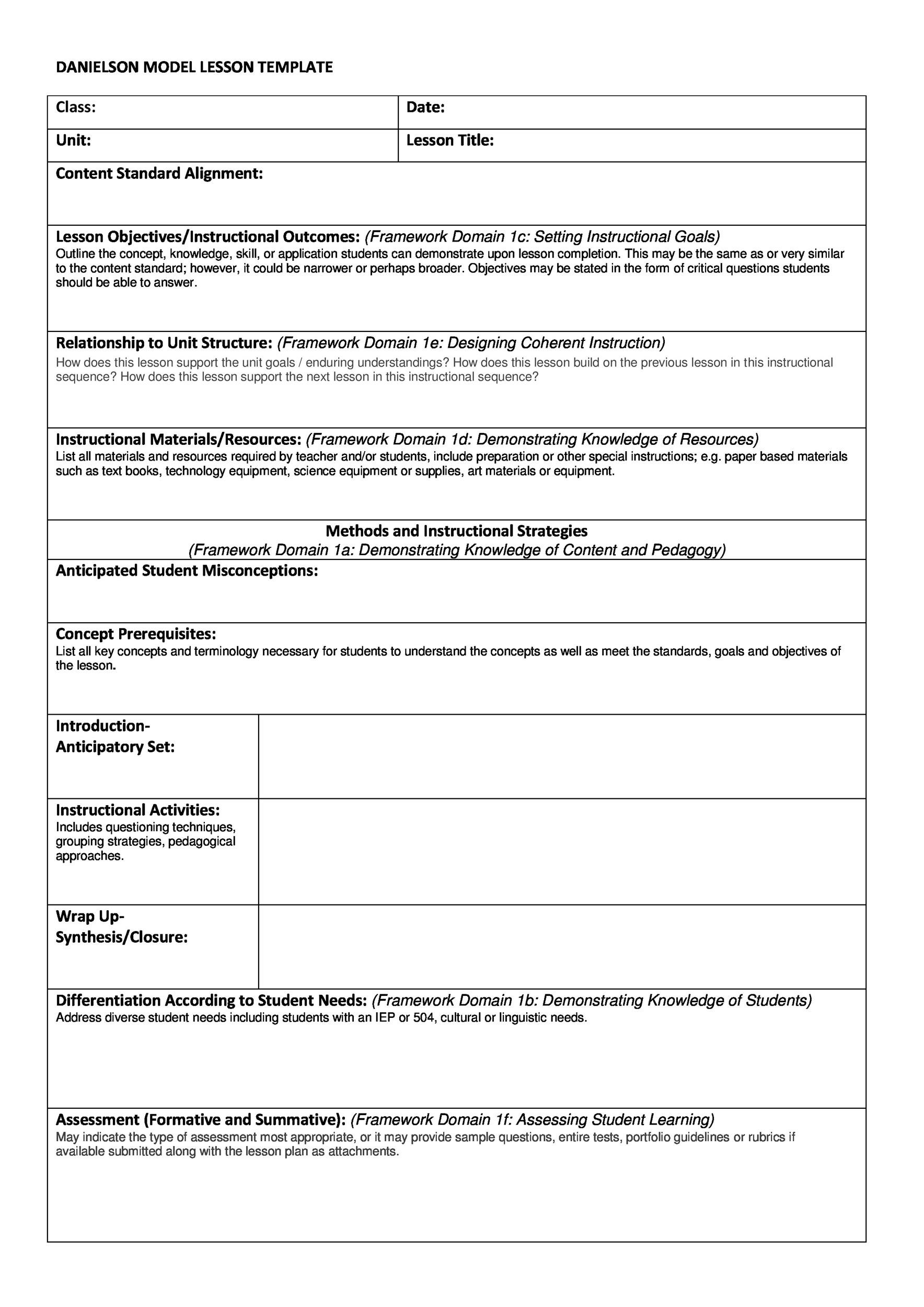 FREE Lesson Plan Templates Common Core Preschool Weekly - Art lesson plan template