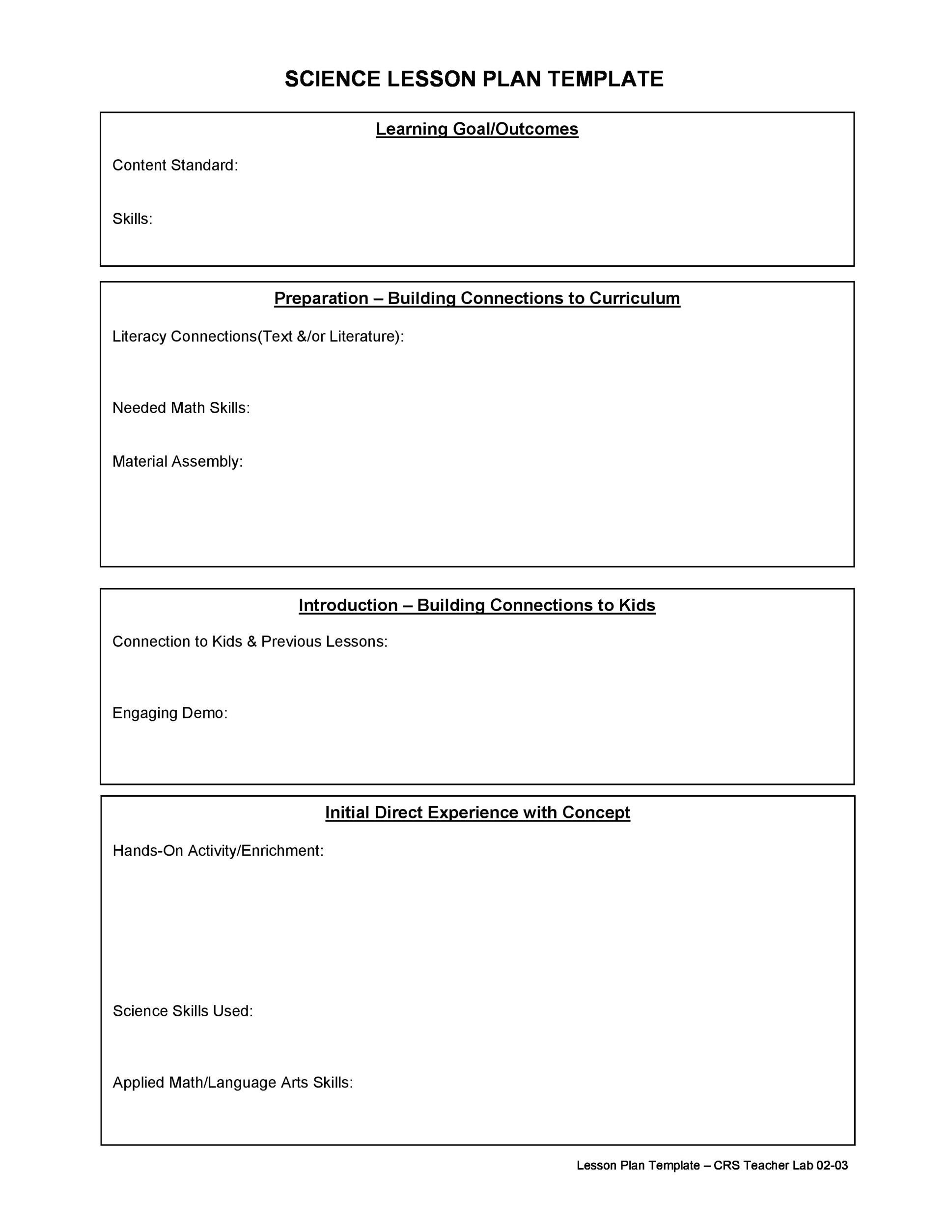 44 free lesson plan templates common core preschool weekly for Outline of a lesson plan template