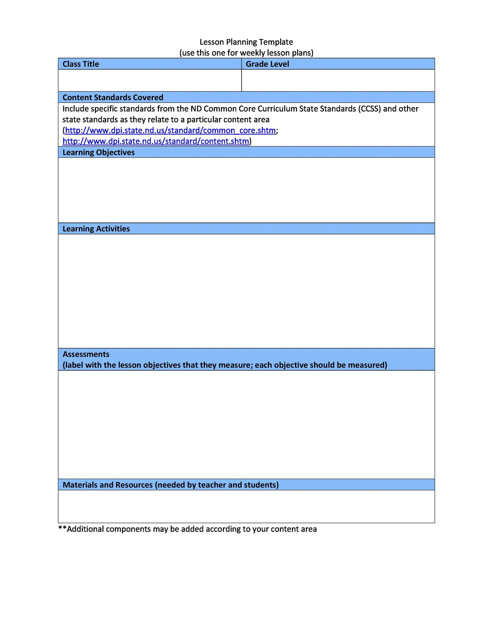 Free lesson plan template 12