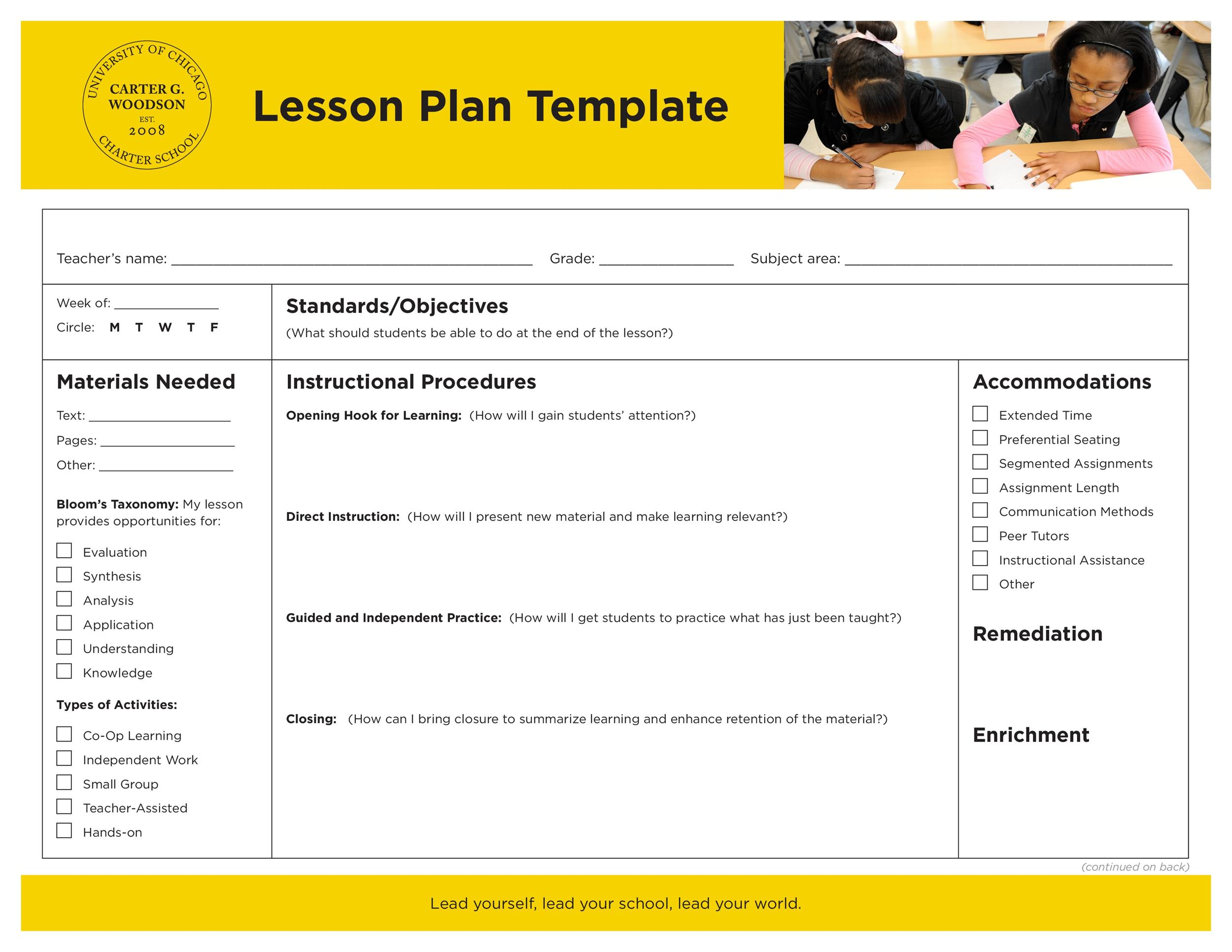Free lesson plan template 15