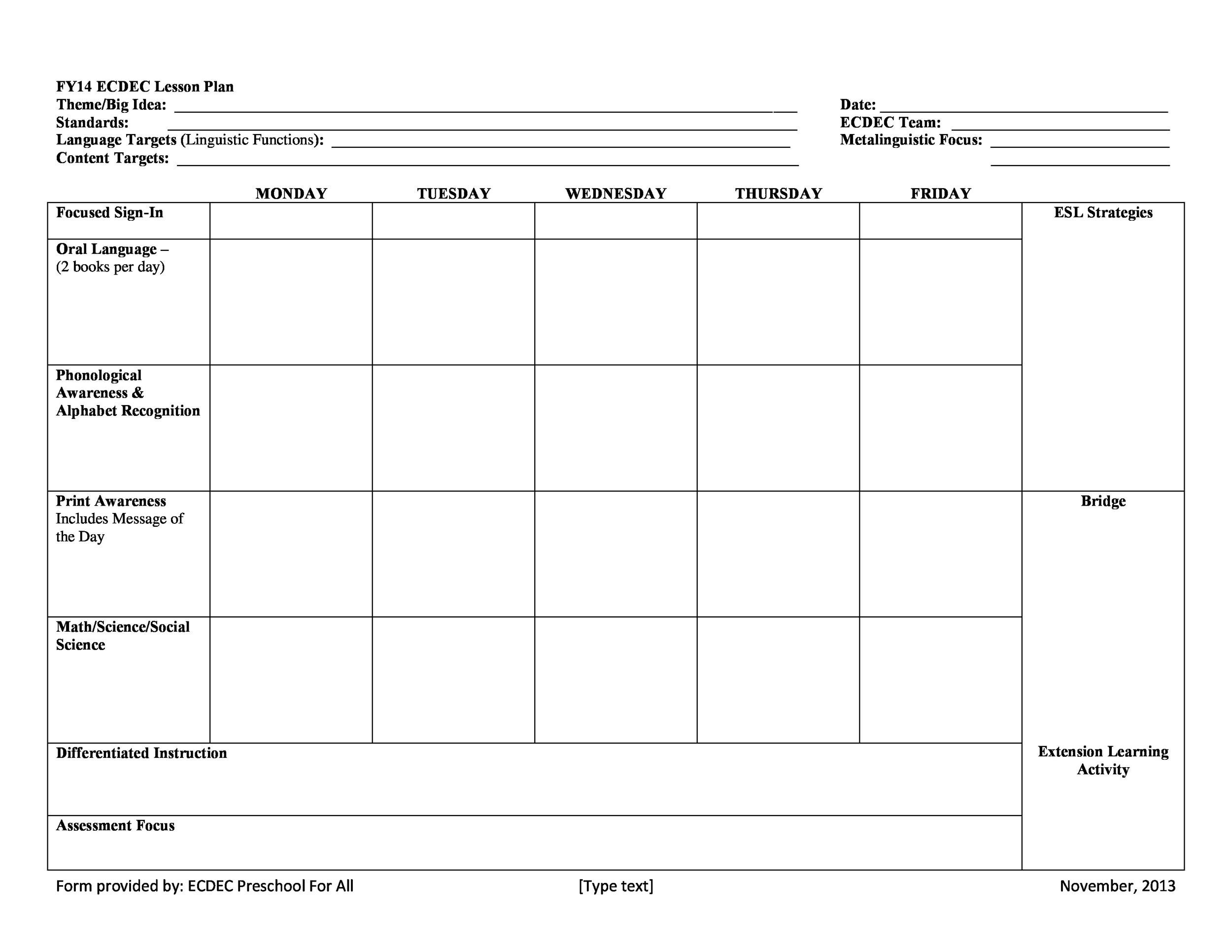 FREE Lesson Plan Templates Common Core Preschool Weekly - Language lesson plan template