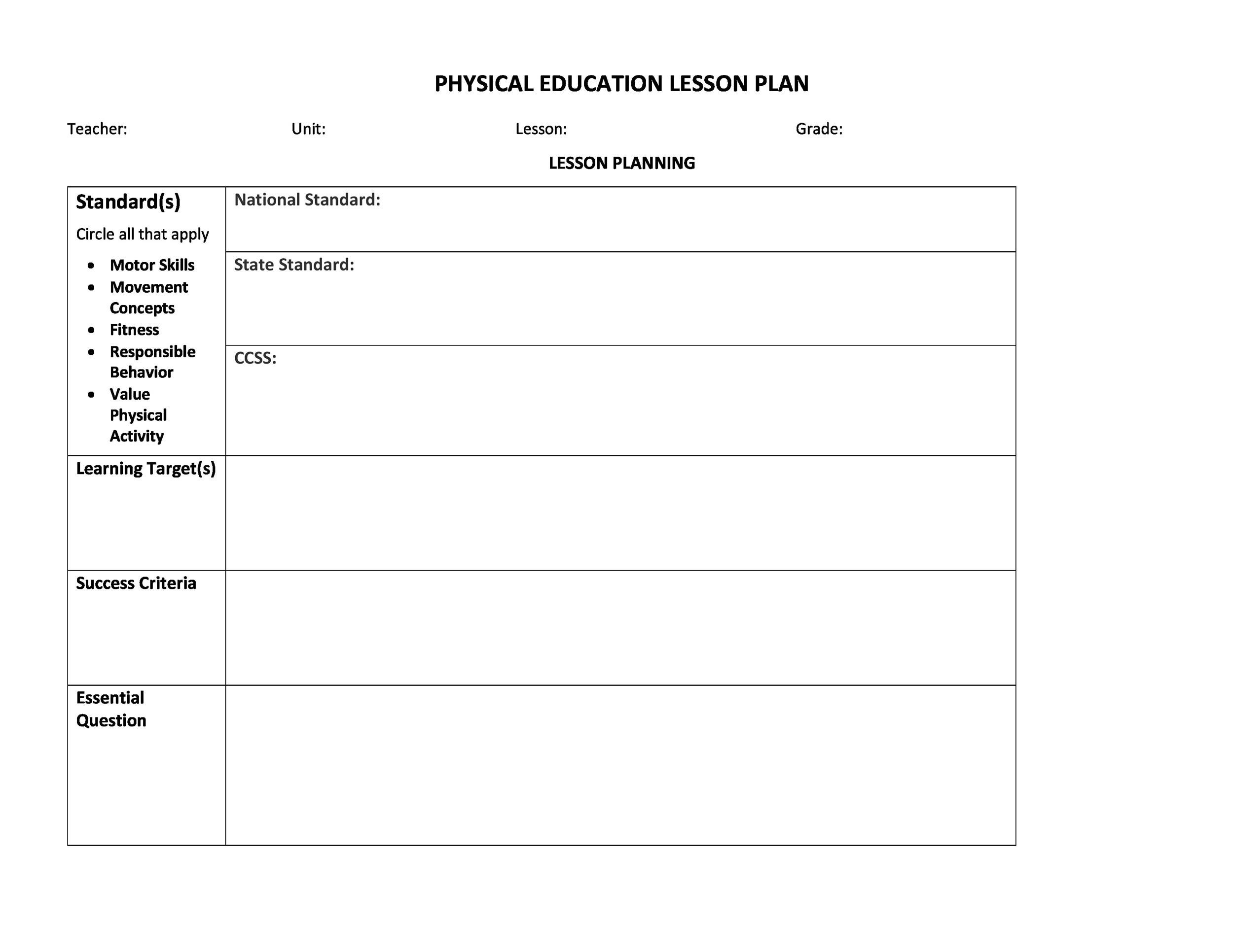 Free lesson plan template 19