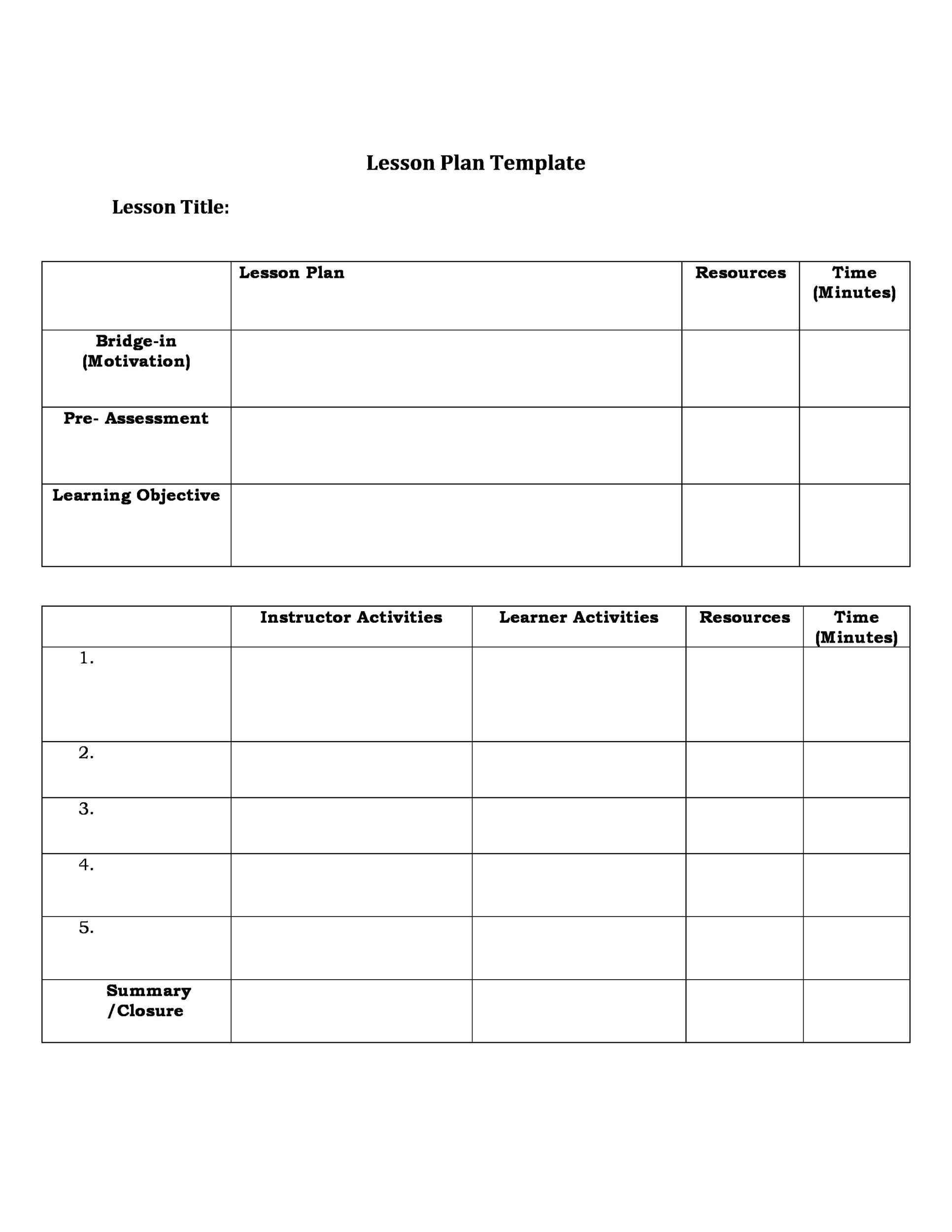 graphic regarding Free Printable Lesson Plans Template known as 44 Cost-free Lesson Program Templates [Well known Main, Preschool, Weekly]