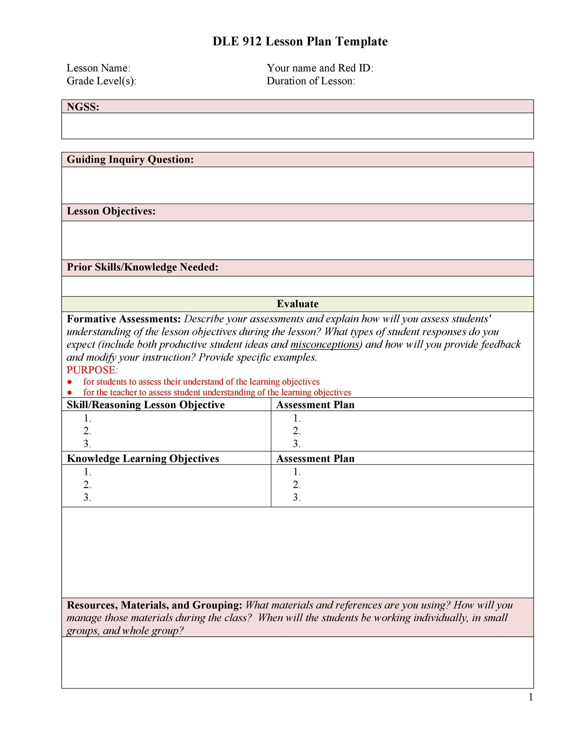 Free lesson plan template 26