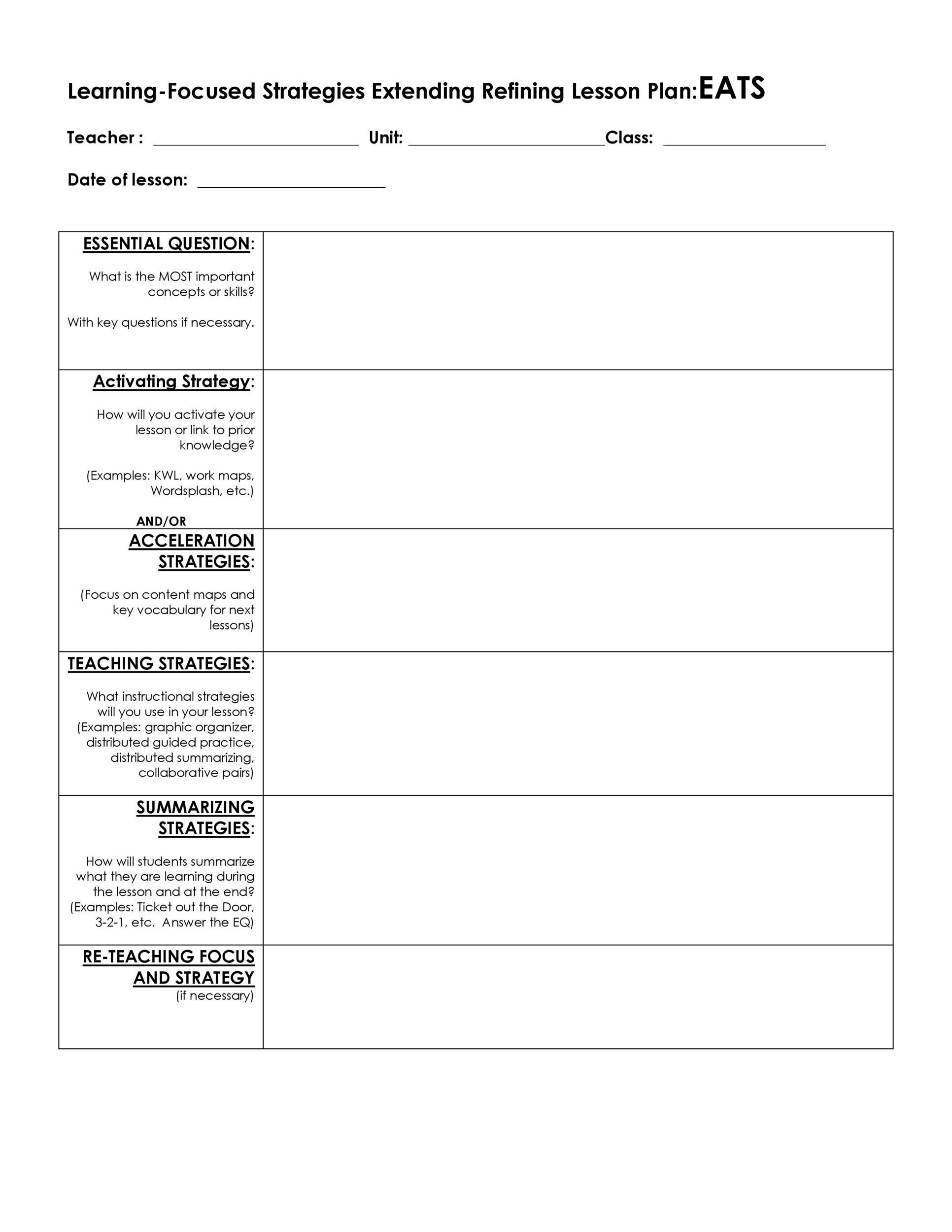 Free lesson plan template 29