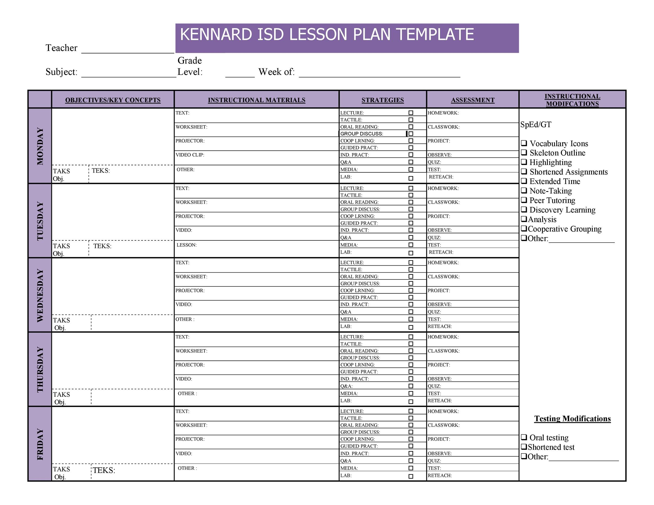 Free Lesson Plan Templates Common Core Preschool Weekly