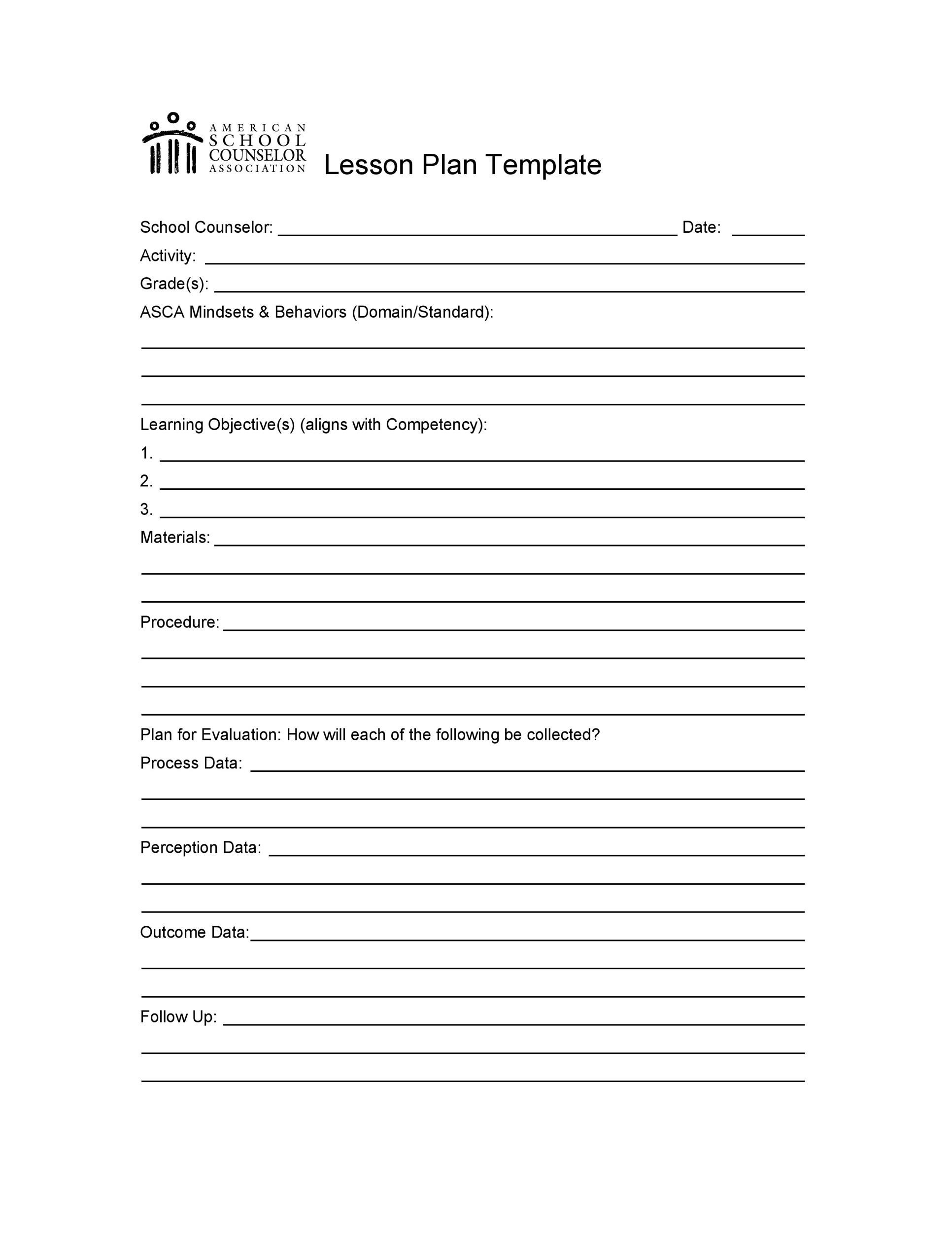 Free lesson plan template 37