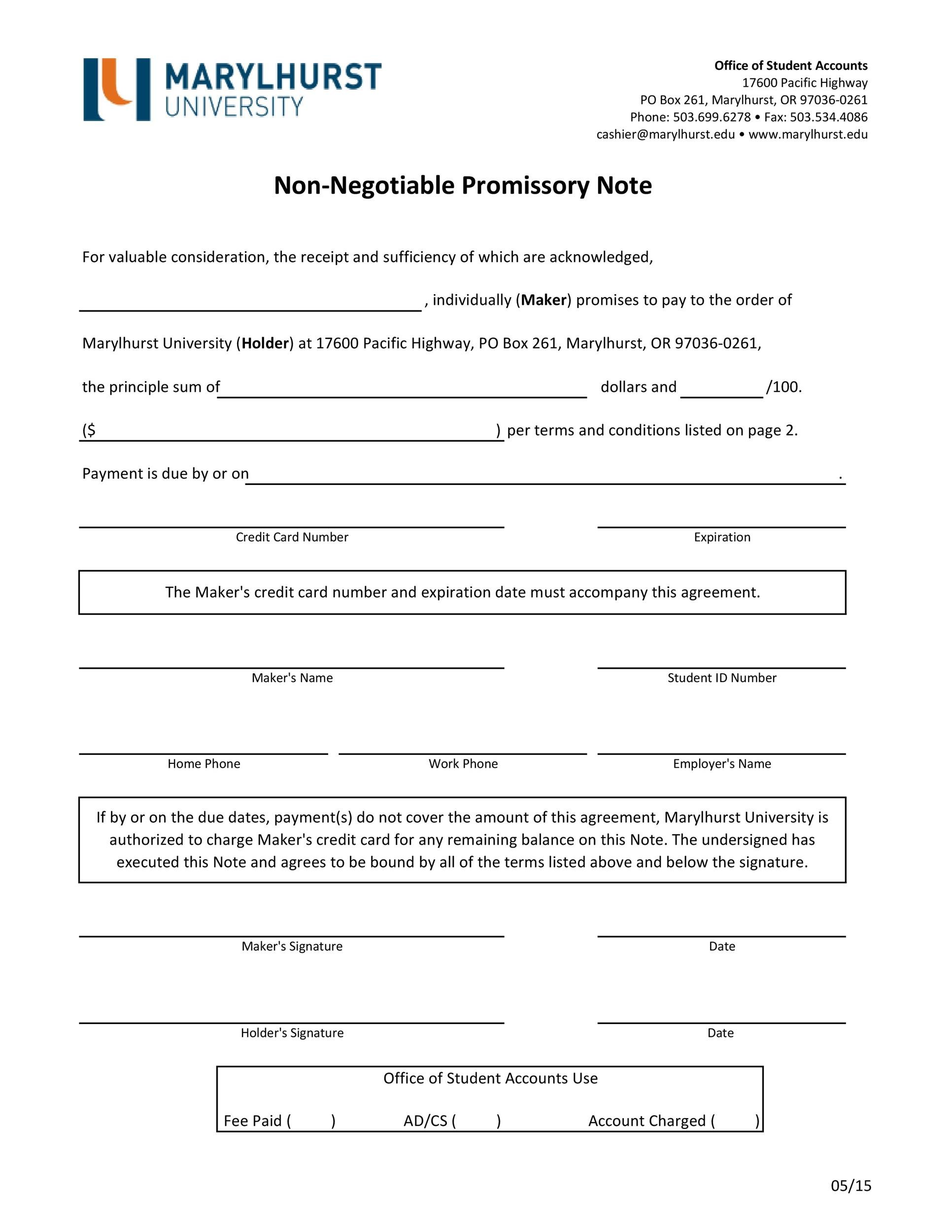 Printable Promissory Note Template 04  Legal Promise To Pay Document