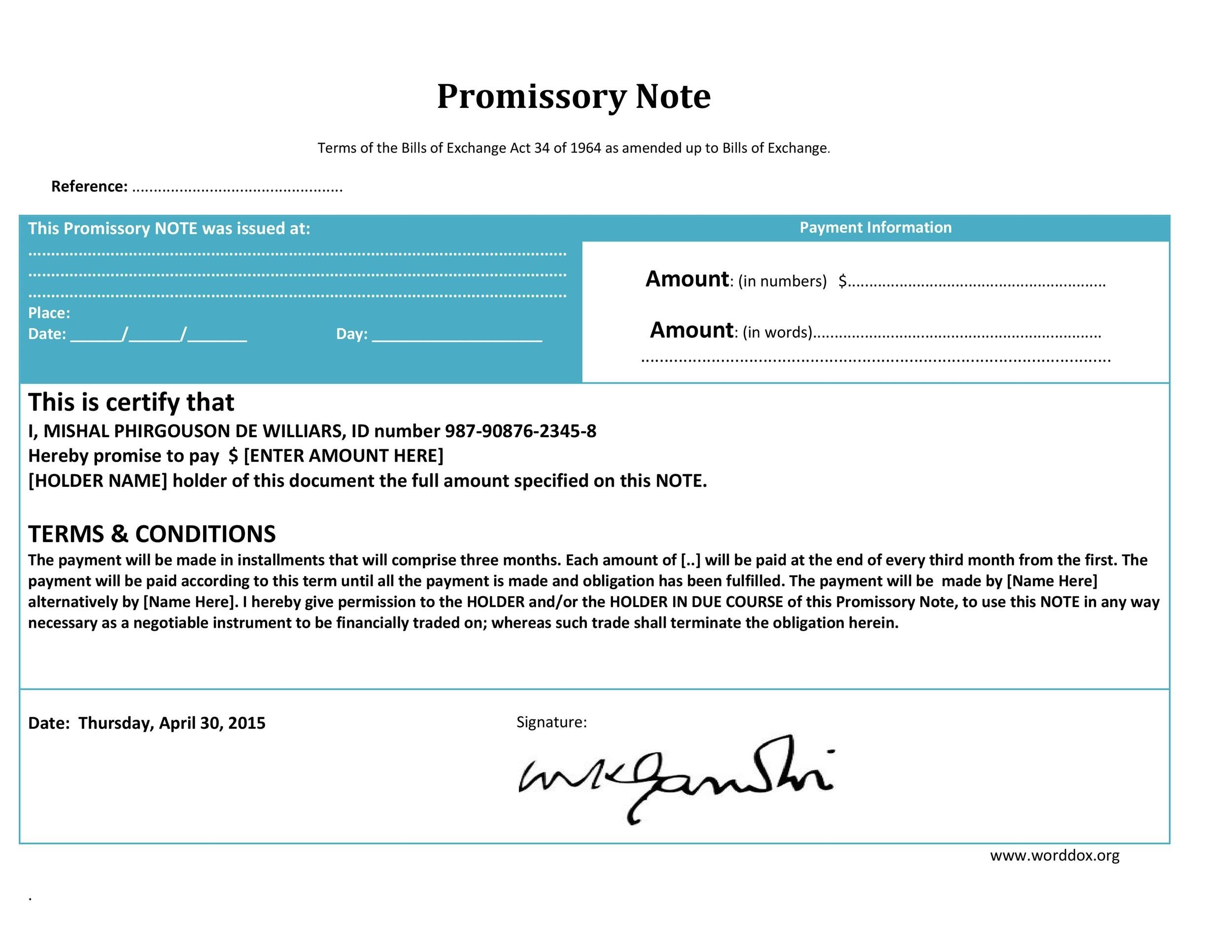 Free promissory note template 05