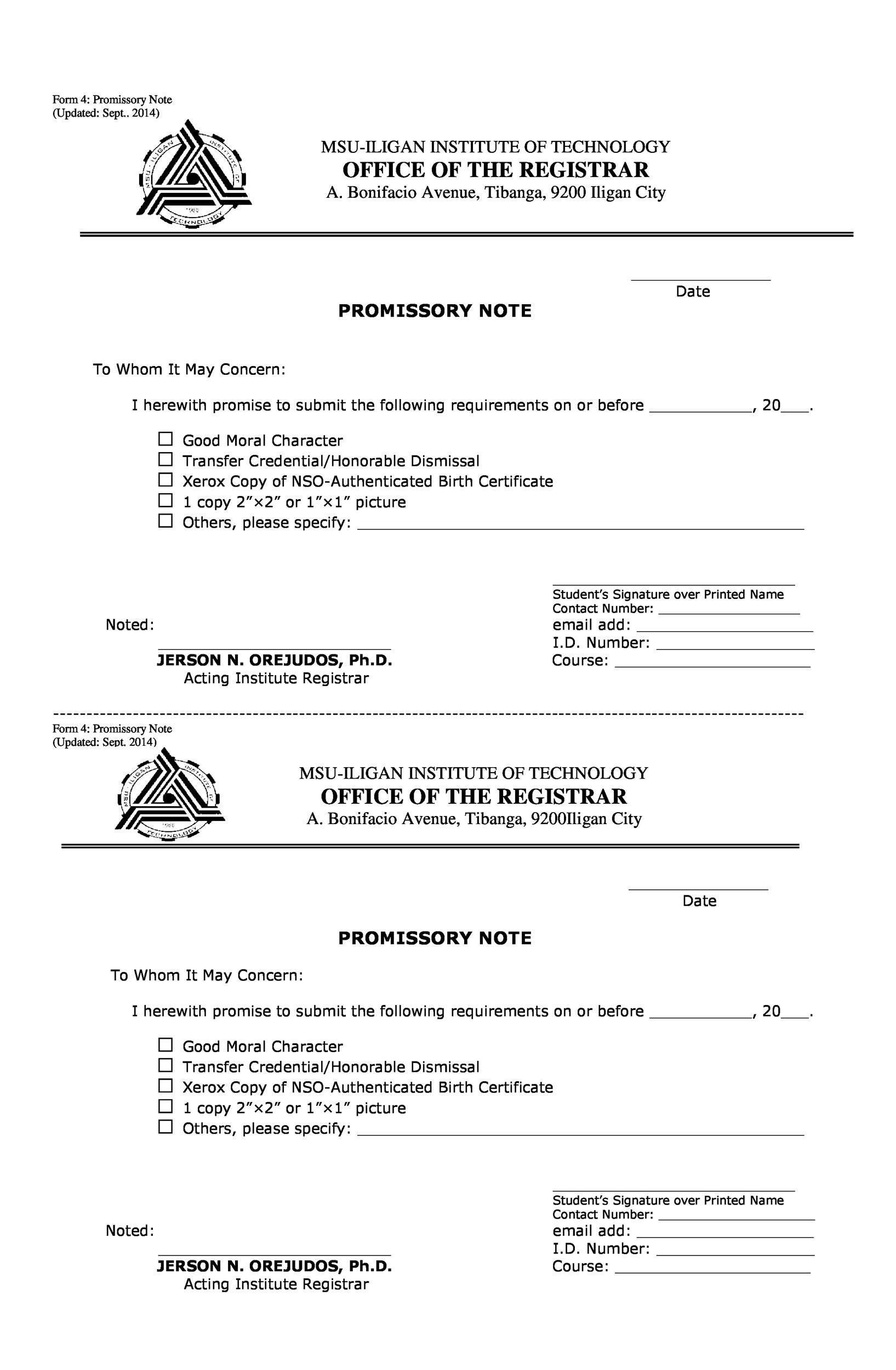 Printable Promissory Note Template 09  Free Printable Promissory Note Template