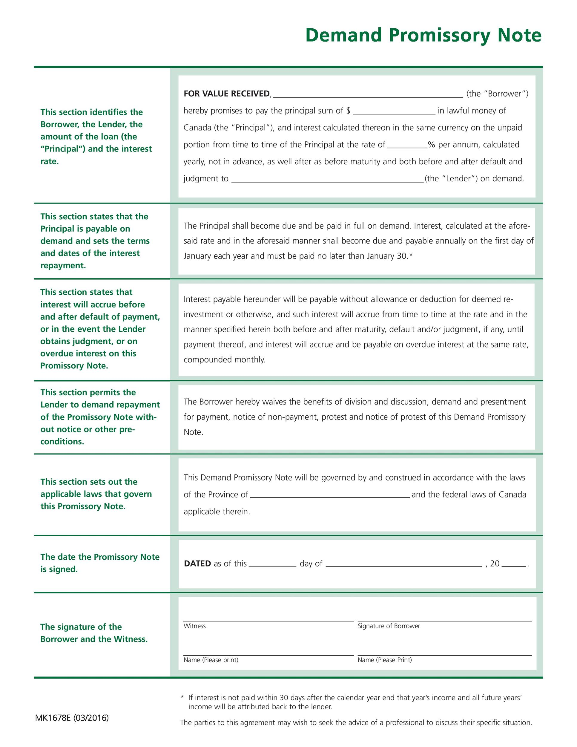 Printable Promissory Note Template 11  Legal Promise To Pay Document