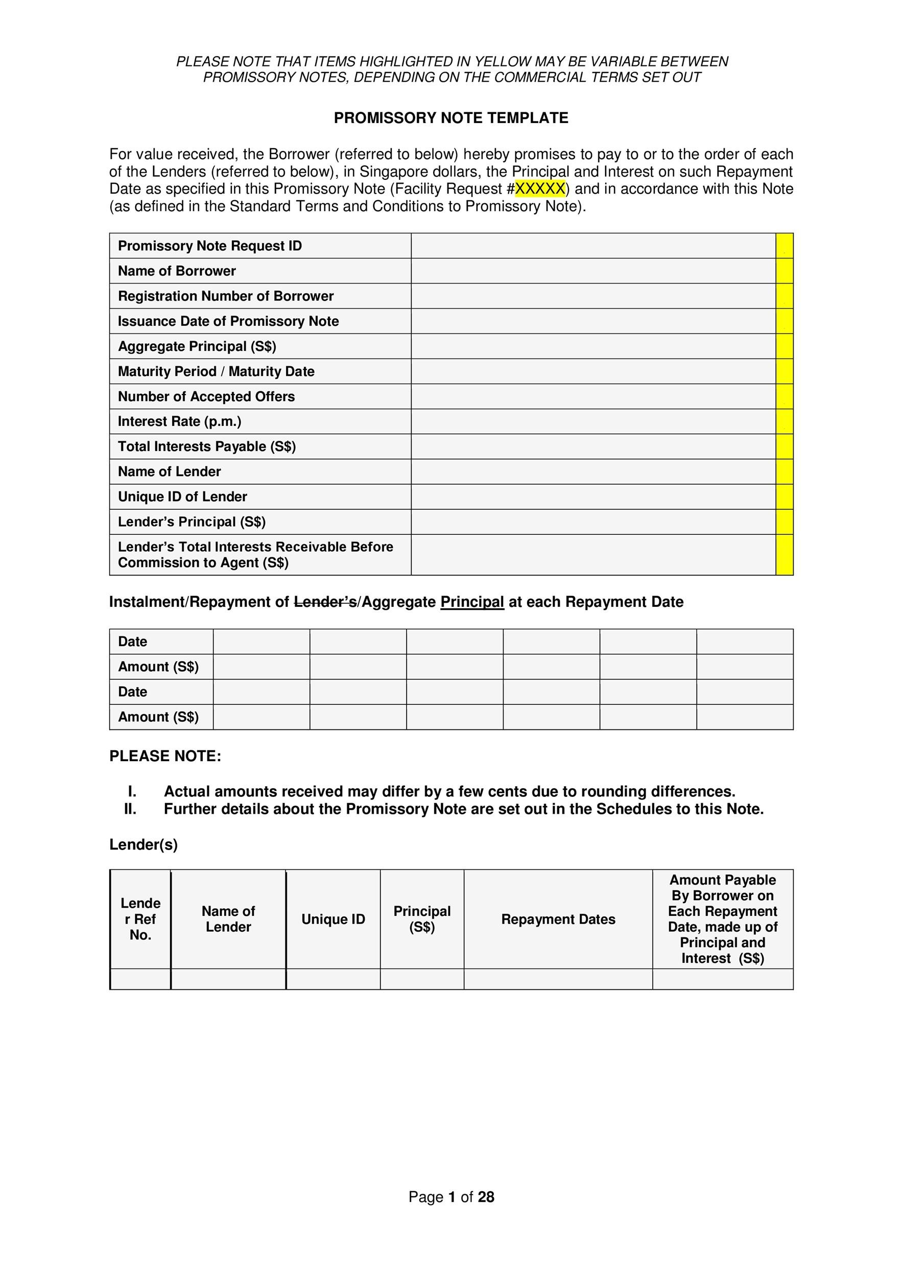 Free promissory note template 16