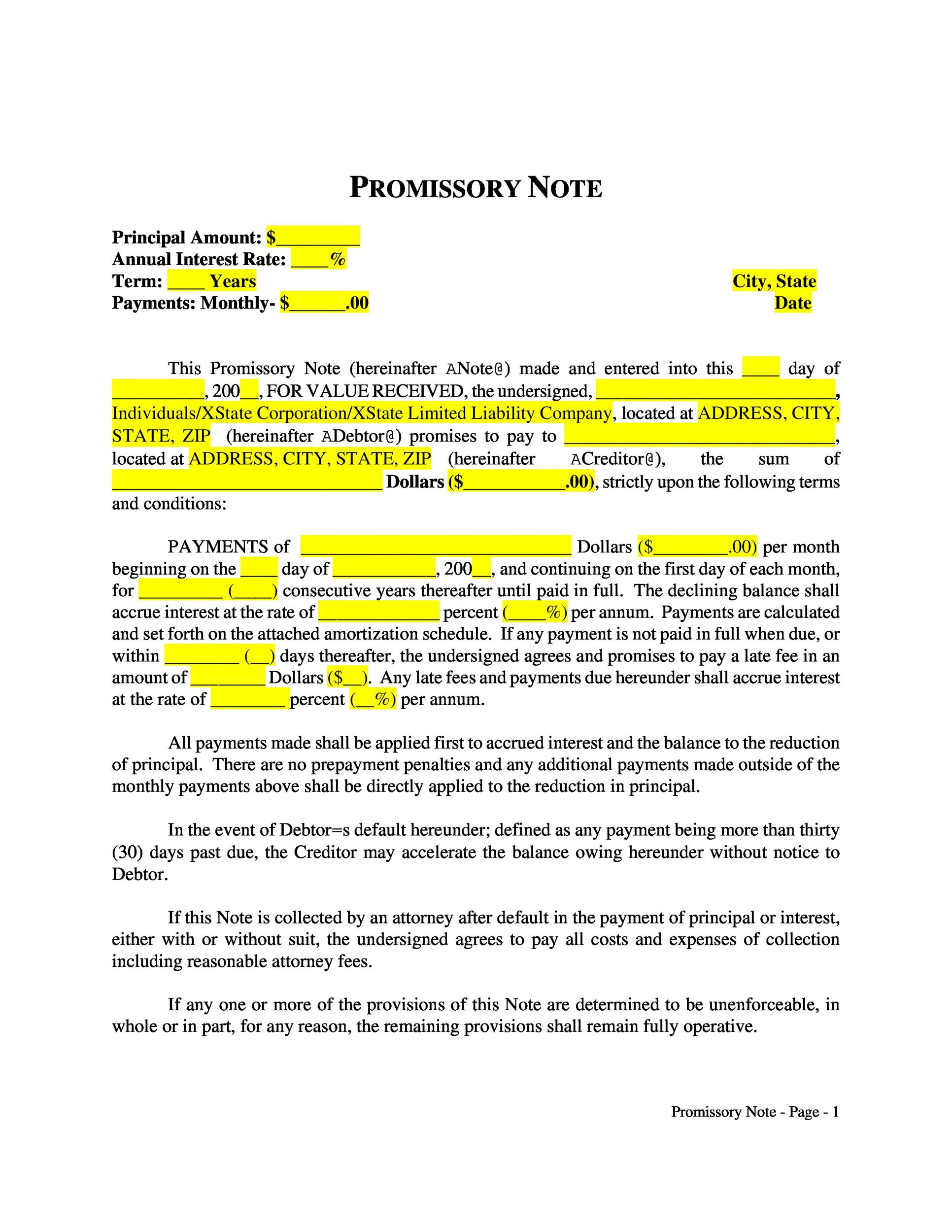 Printable Promissory Note Template 18  Legal Promise To Pay Document