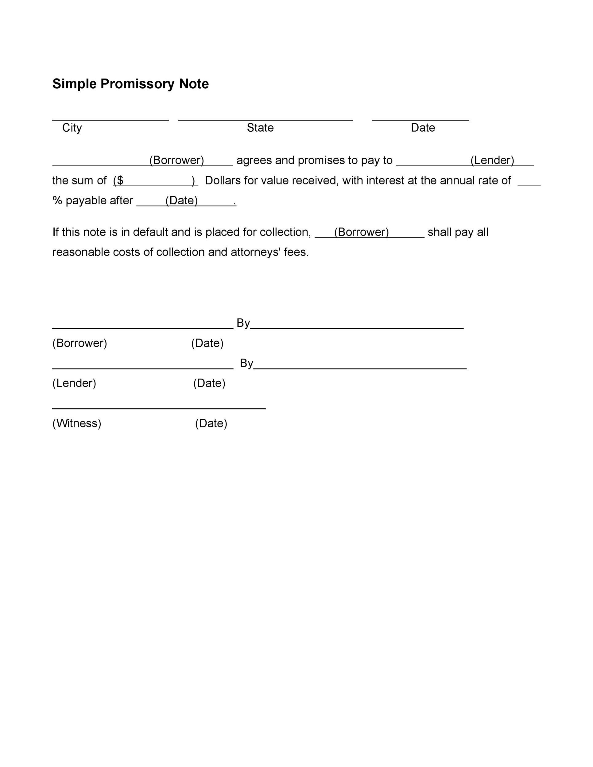 Free promissory note template 26