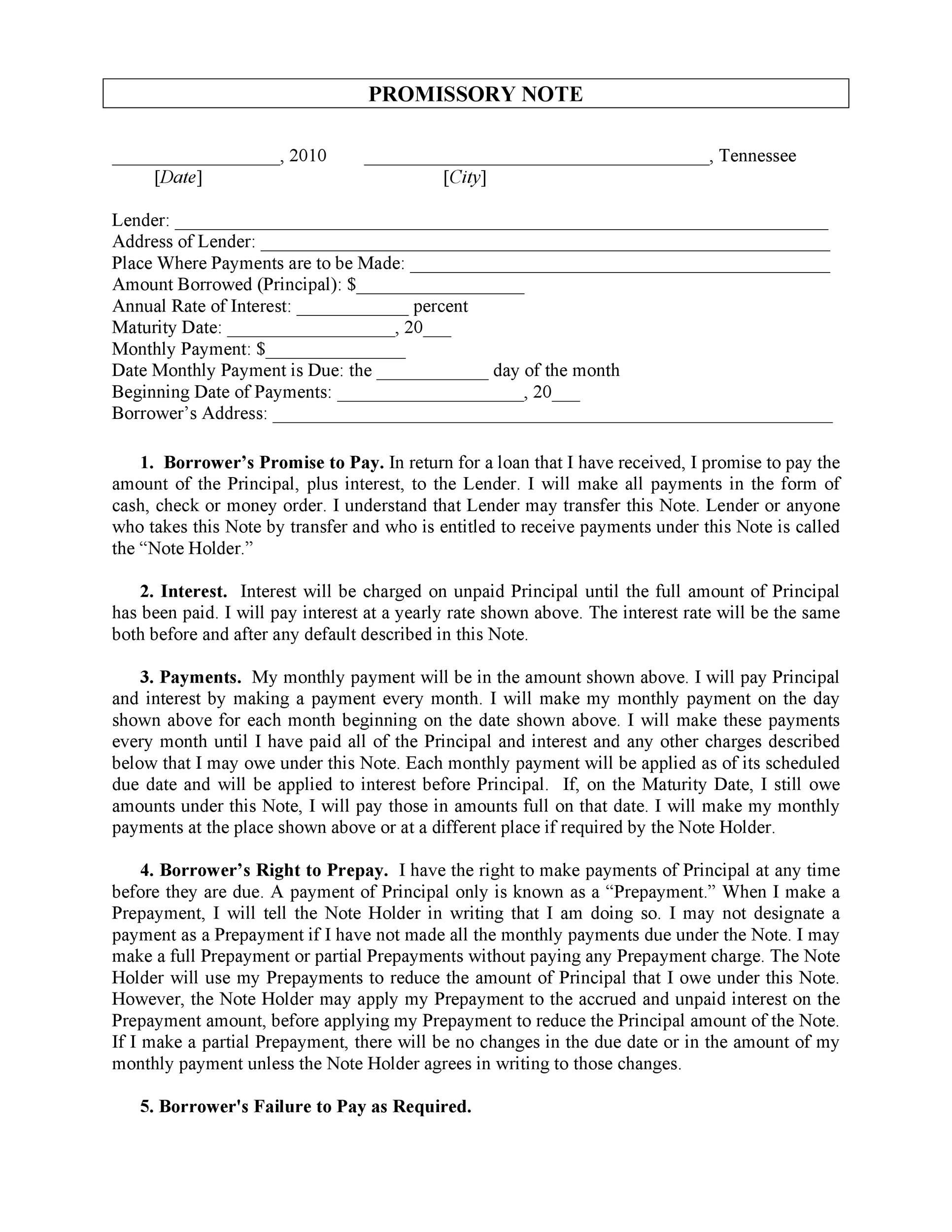 Printable Promissory Note Template 27  Free Printable Promissory Note Template