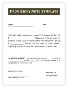 promissory note template 33