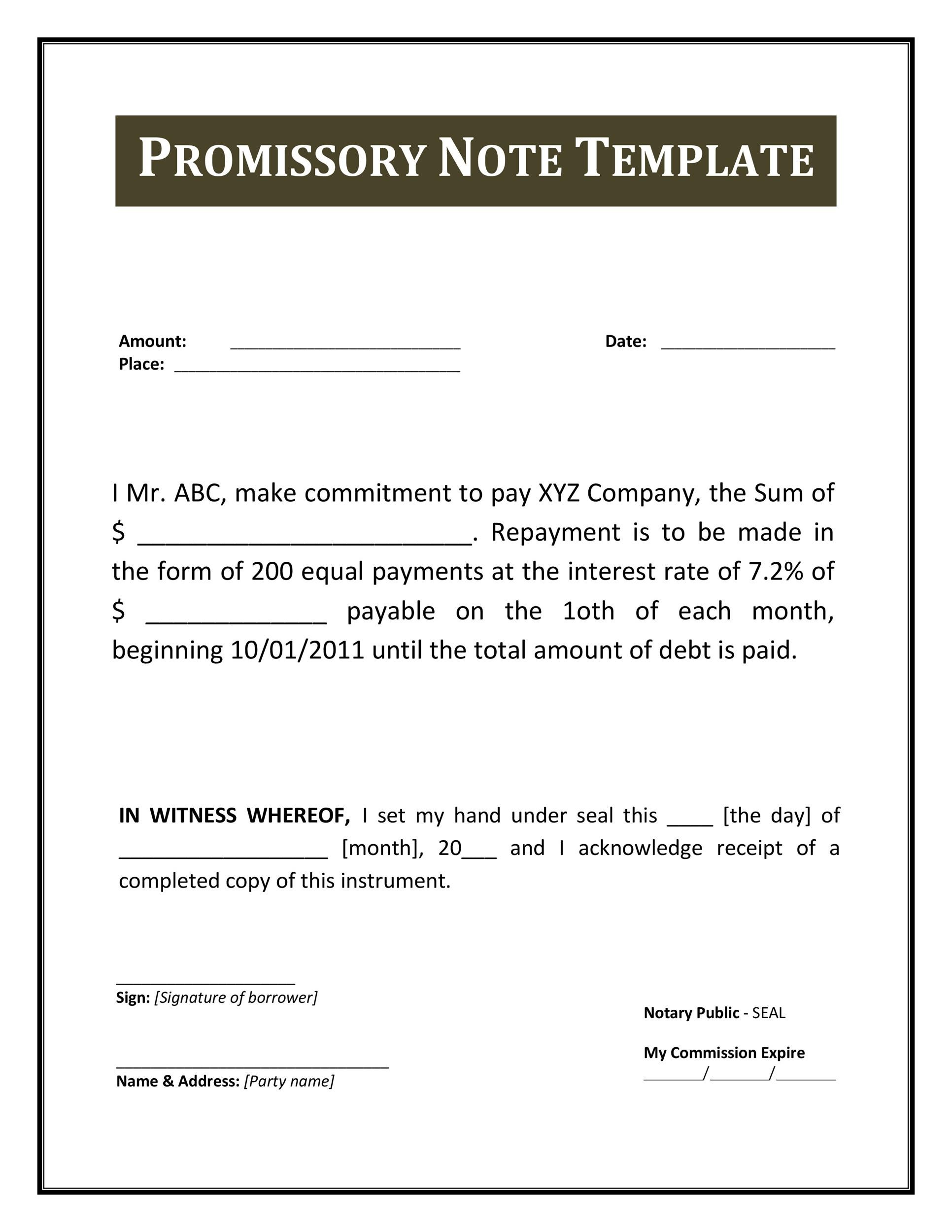 High Quality Printable Promissory Note Template 33  Legal Promise To Pay Document