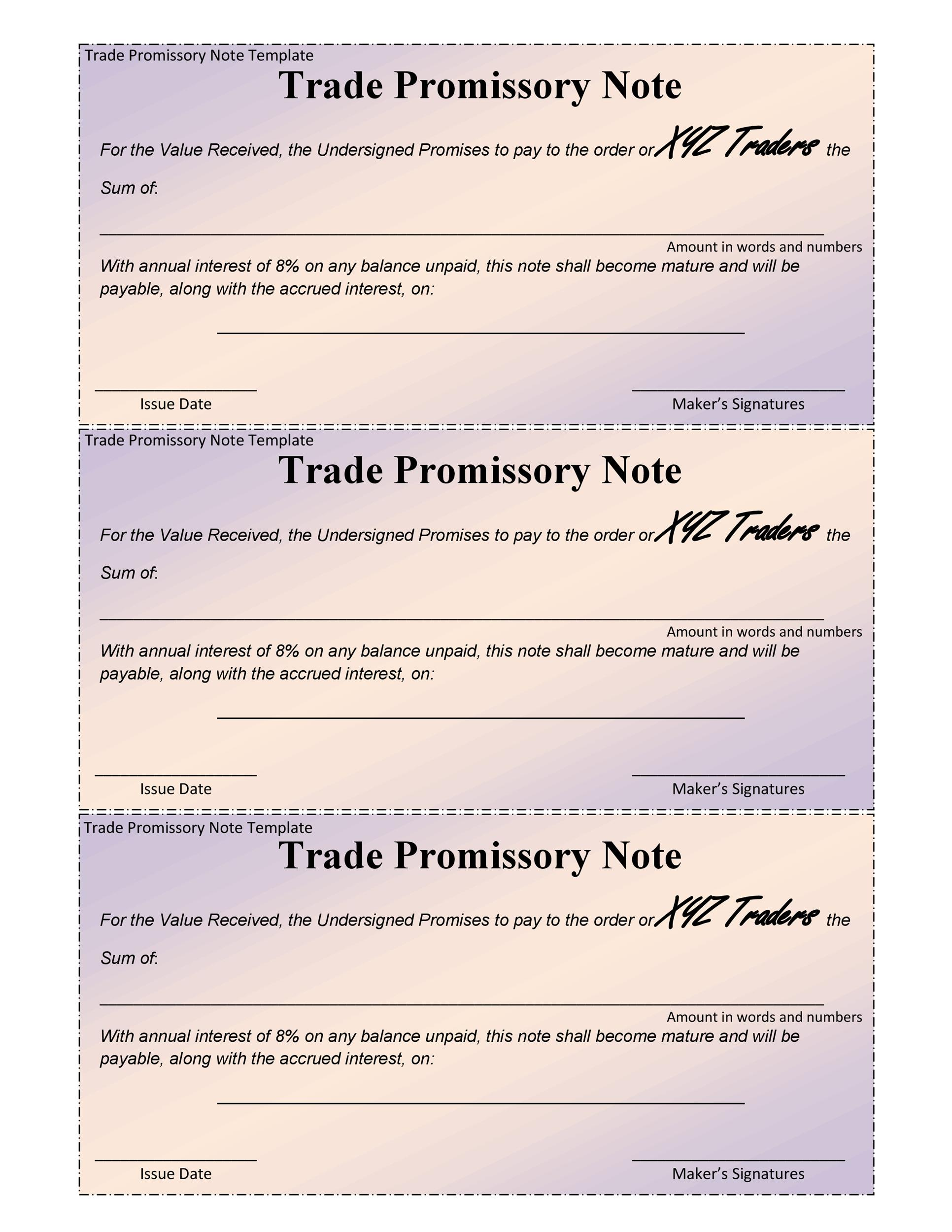 Free promissory note template 34