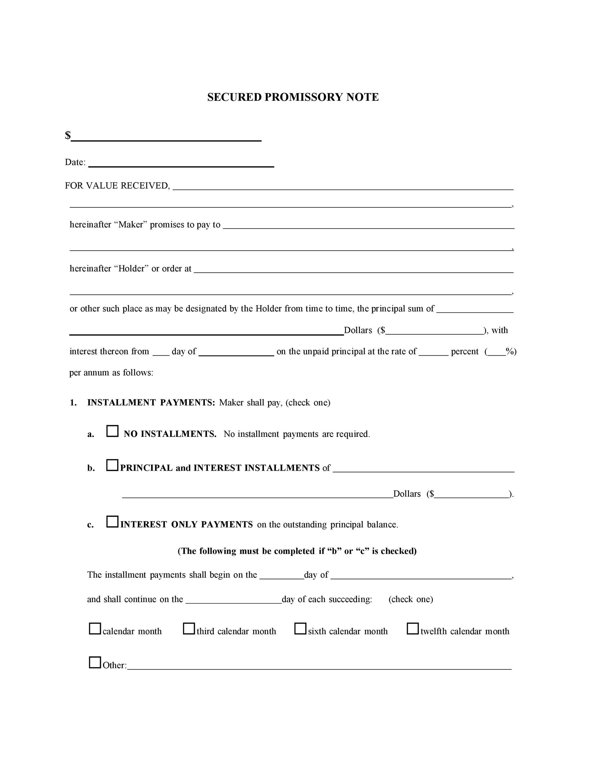 Printable Promissory Note Template 35  Free Download Promissory Note