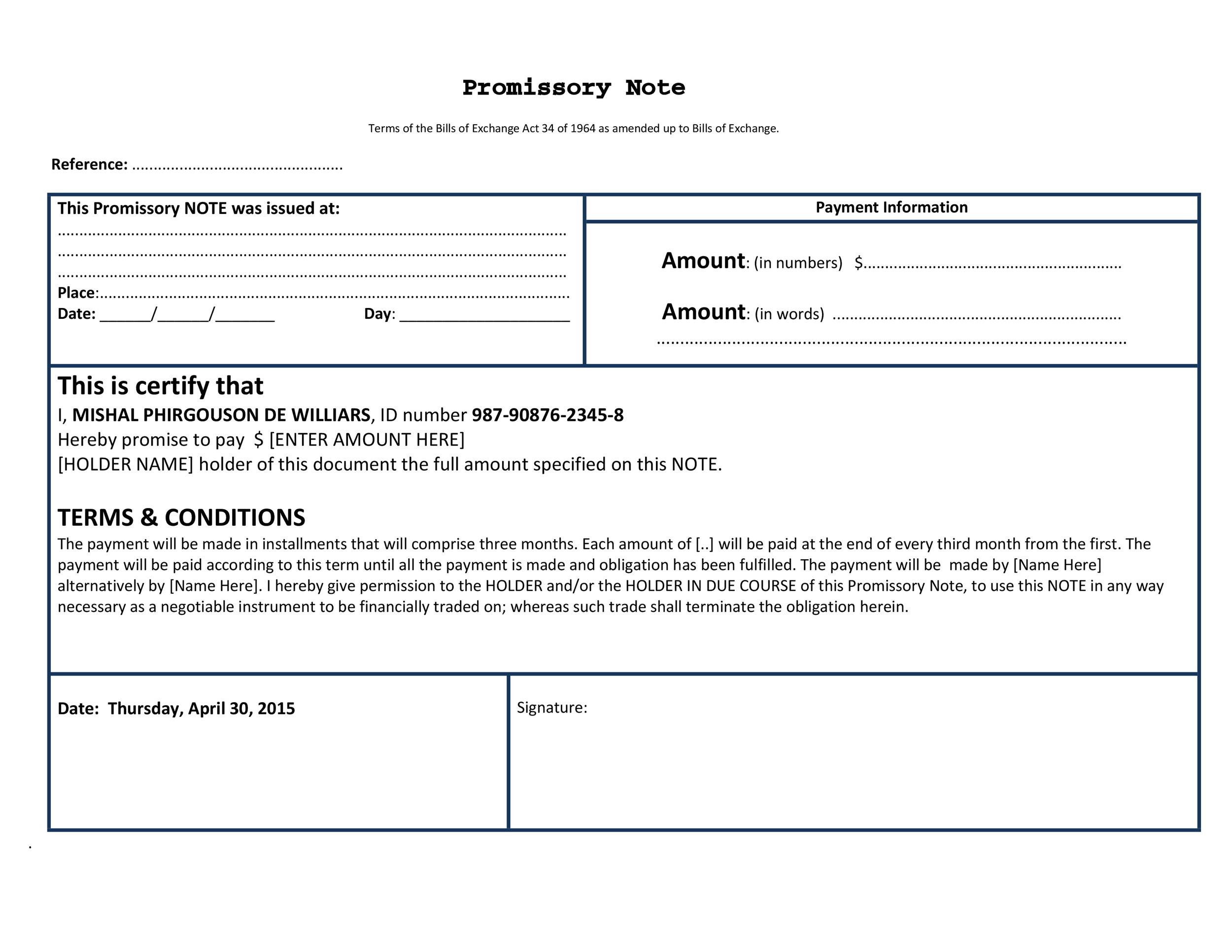 Free promissory note template 36