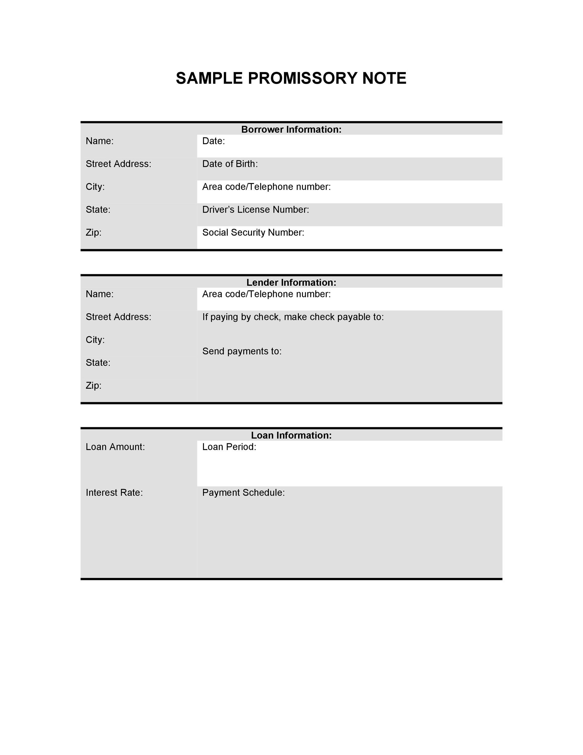 Free promissory note template 37