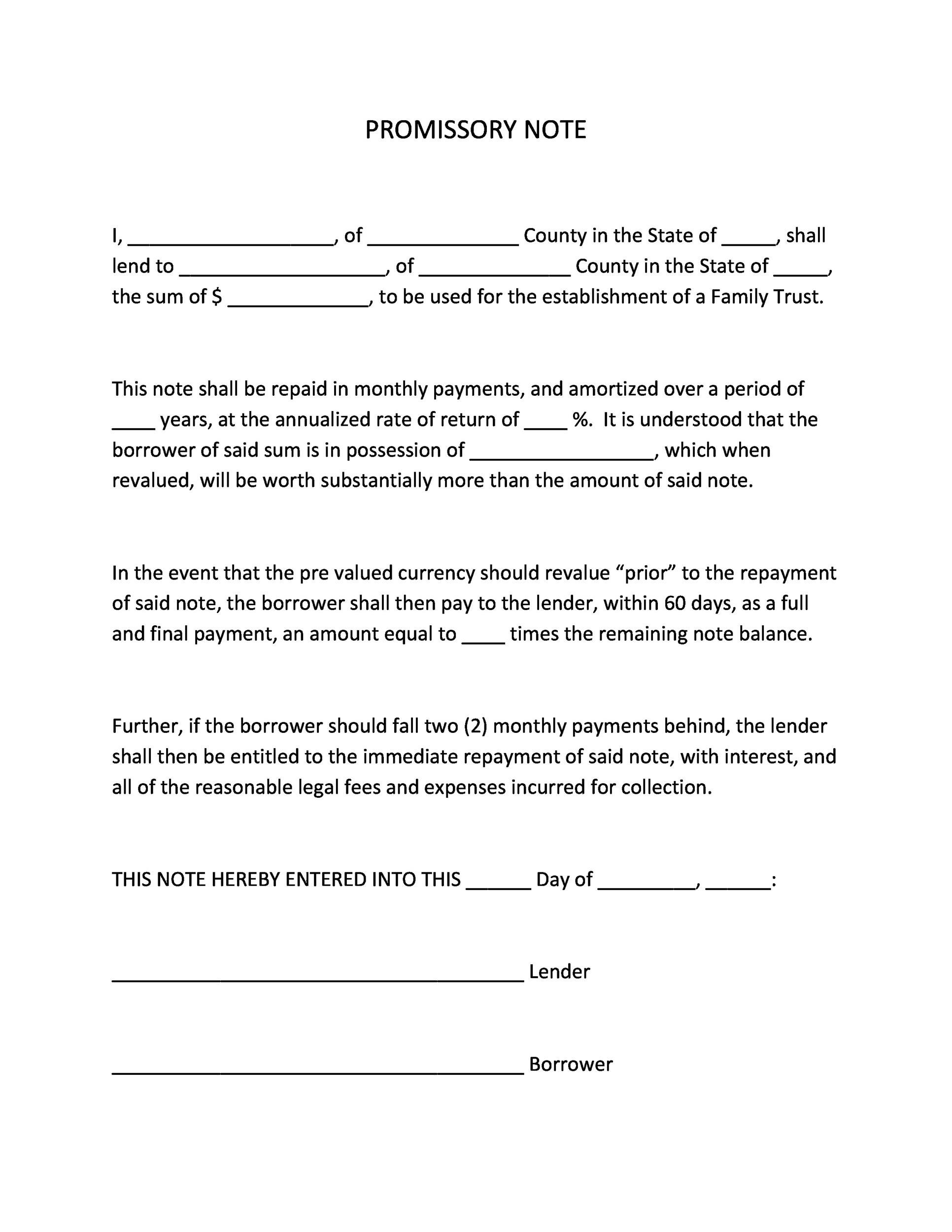 Charming Printable Promissory Note Template 38 On Blank Promissory Notes