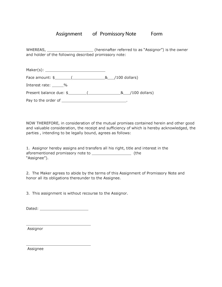 vehicle promissory note template free
