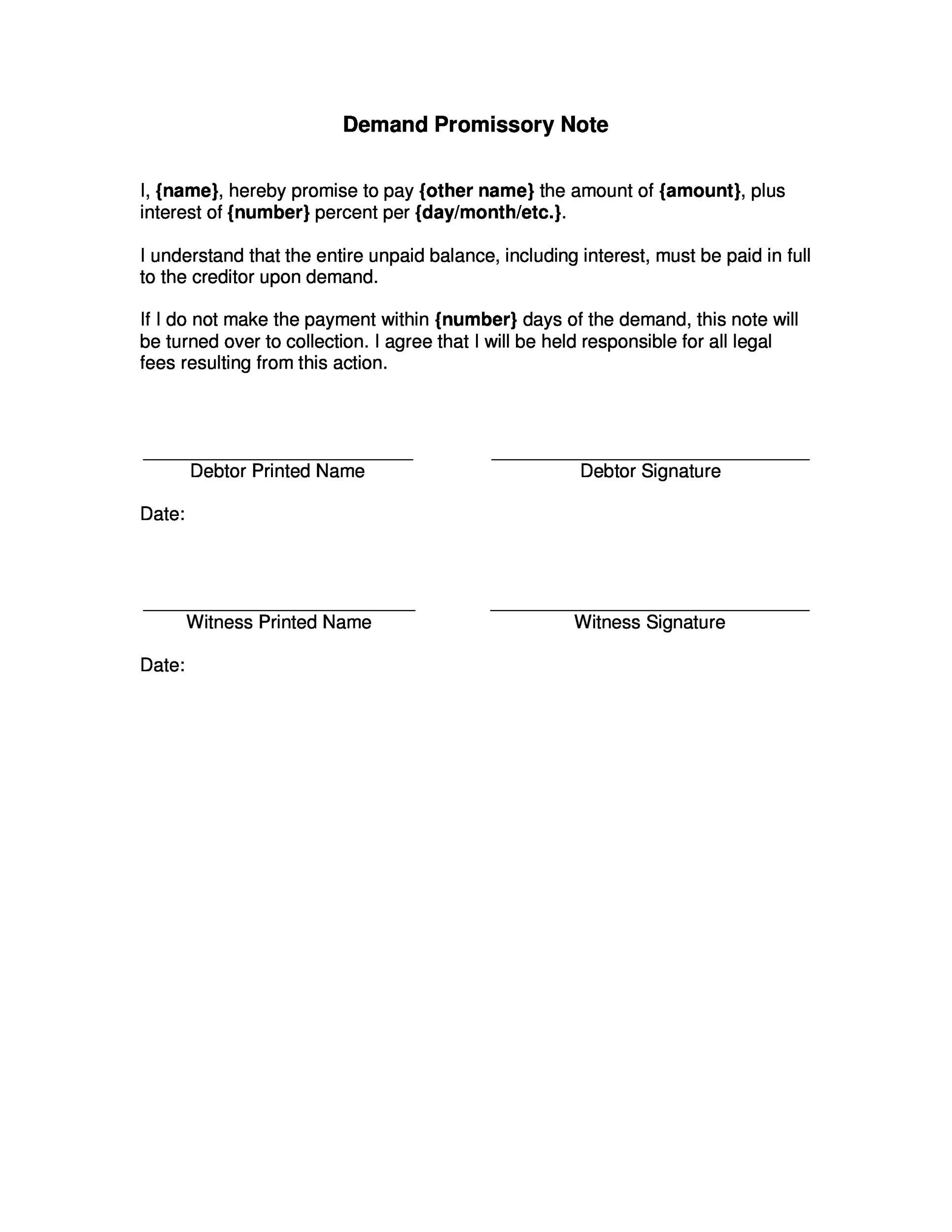 Printable Promissory Note Template 43  Promise To Pay Template
