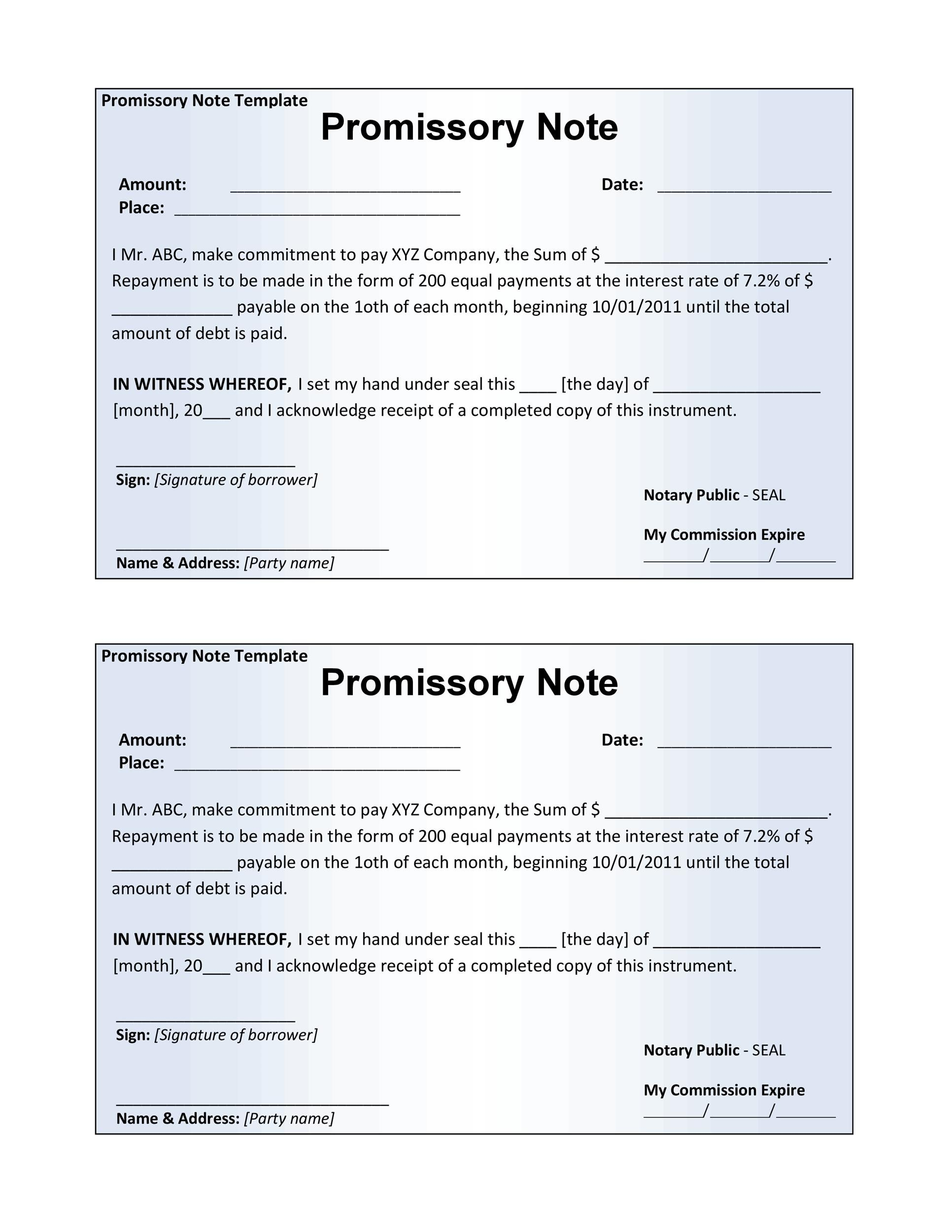 Free promissory note template 45
