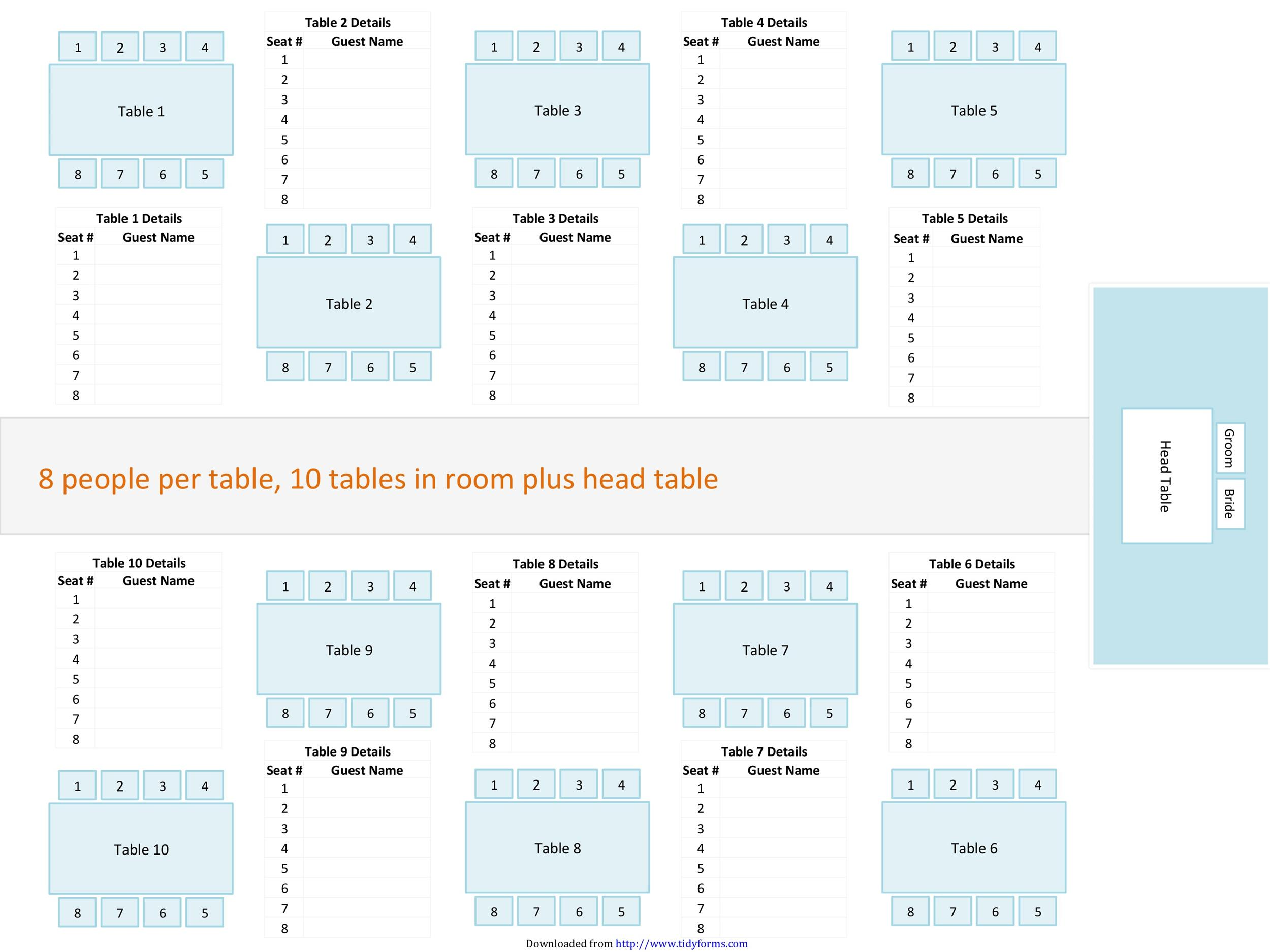 Free Seating Chart Template 20