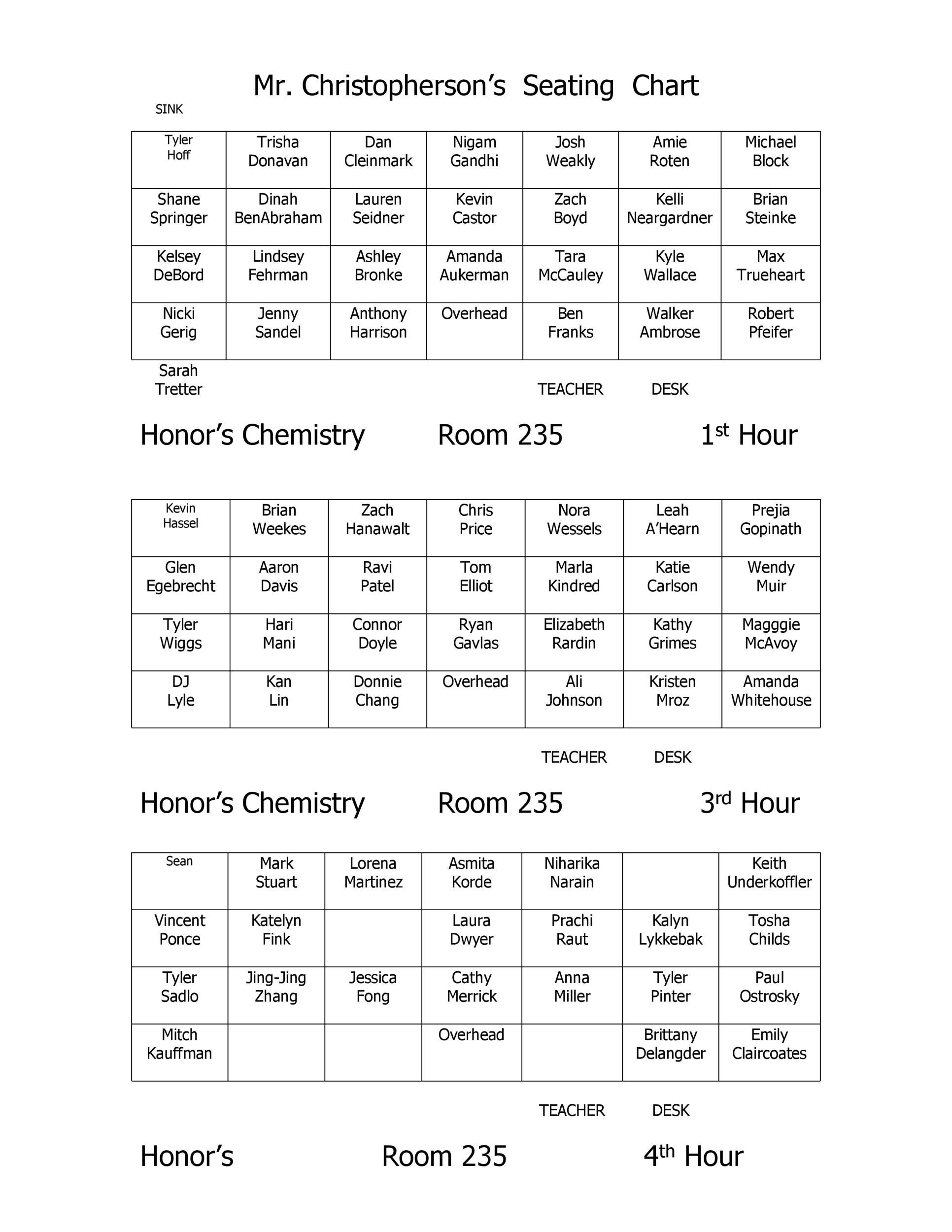 Seating Chart Classroom Template Zrom
