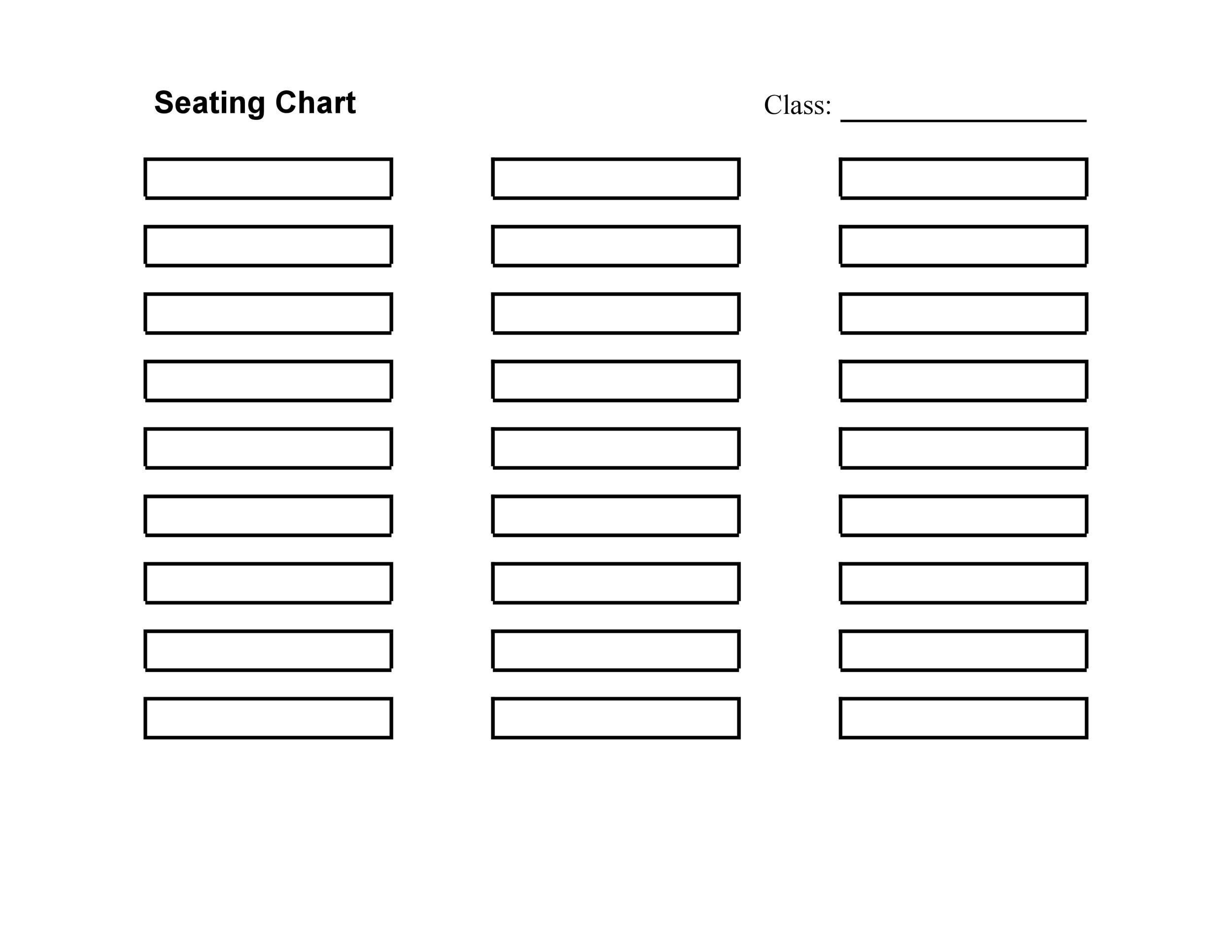 Printable Seating Chart Template 33