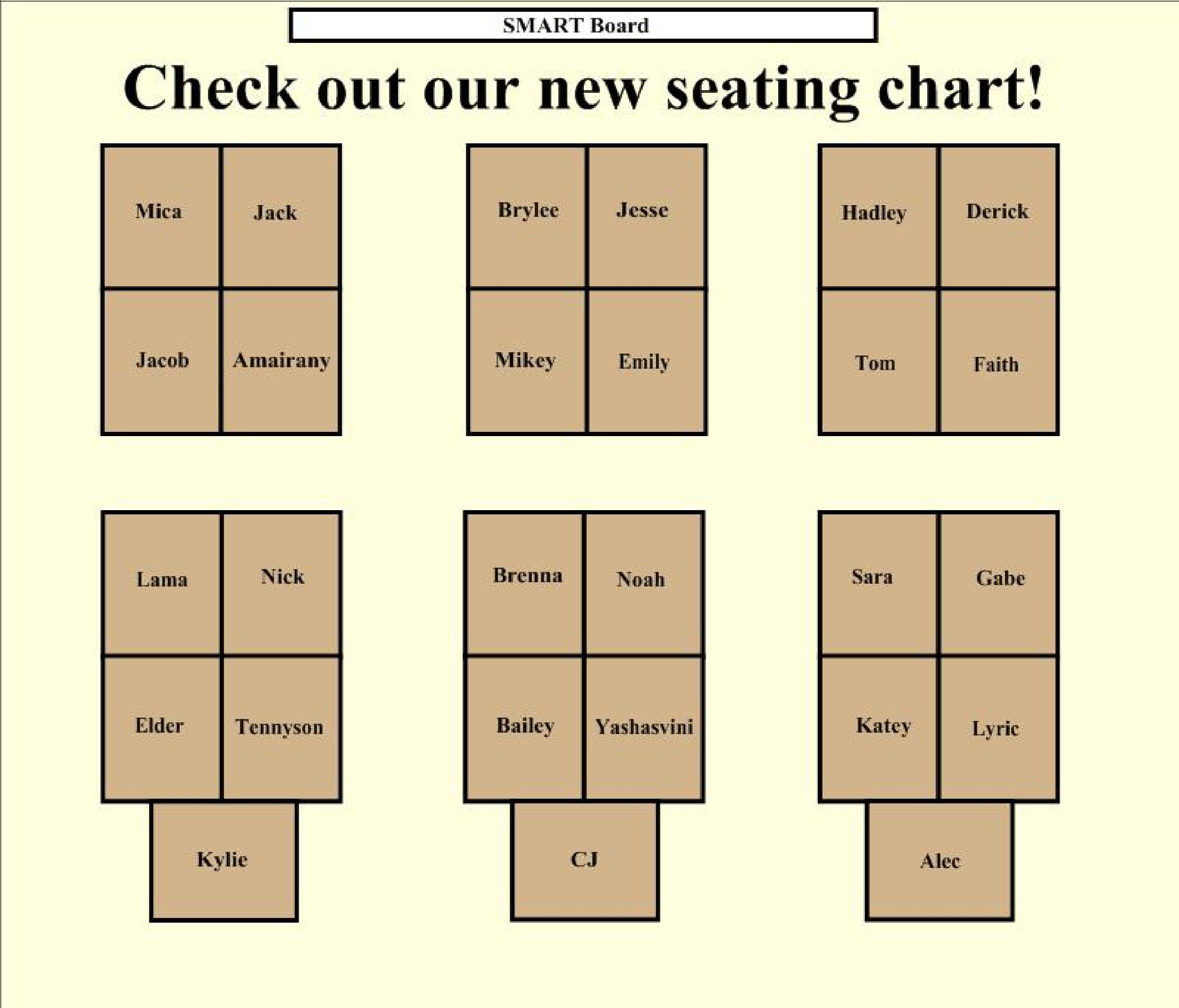 Free seating chart template 42