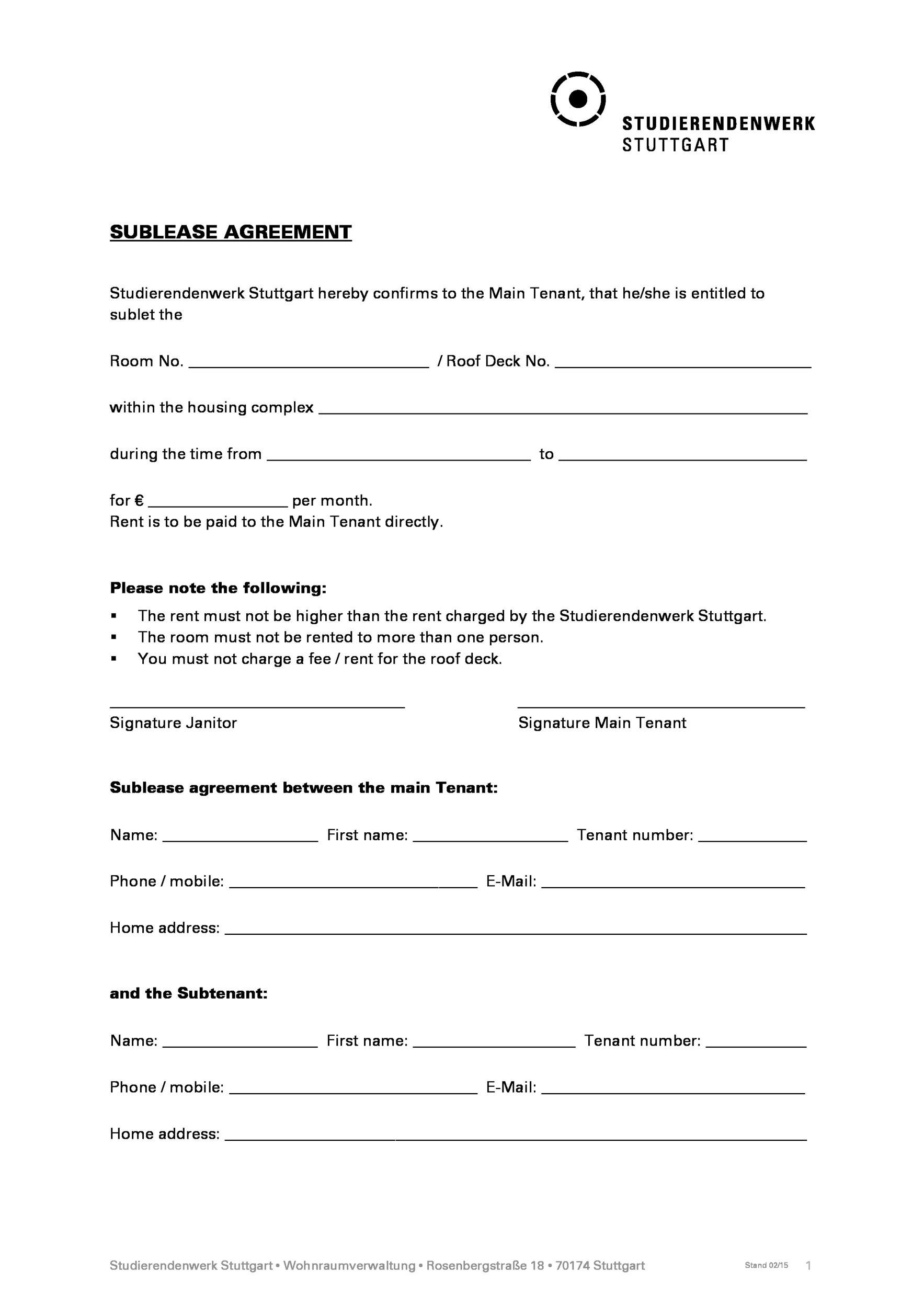 40 Professional Sublease Agreement Templates Forms Template Lab – Agreement Templates