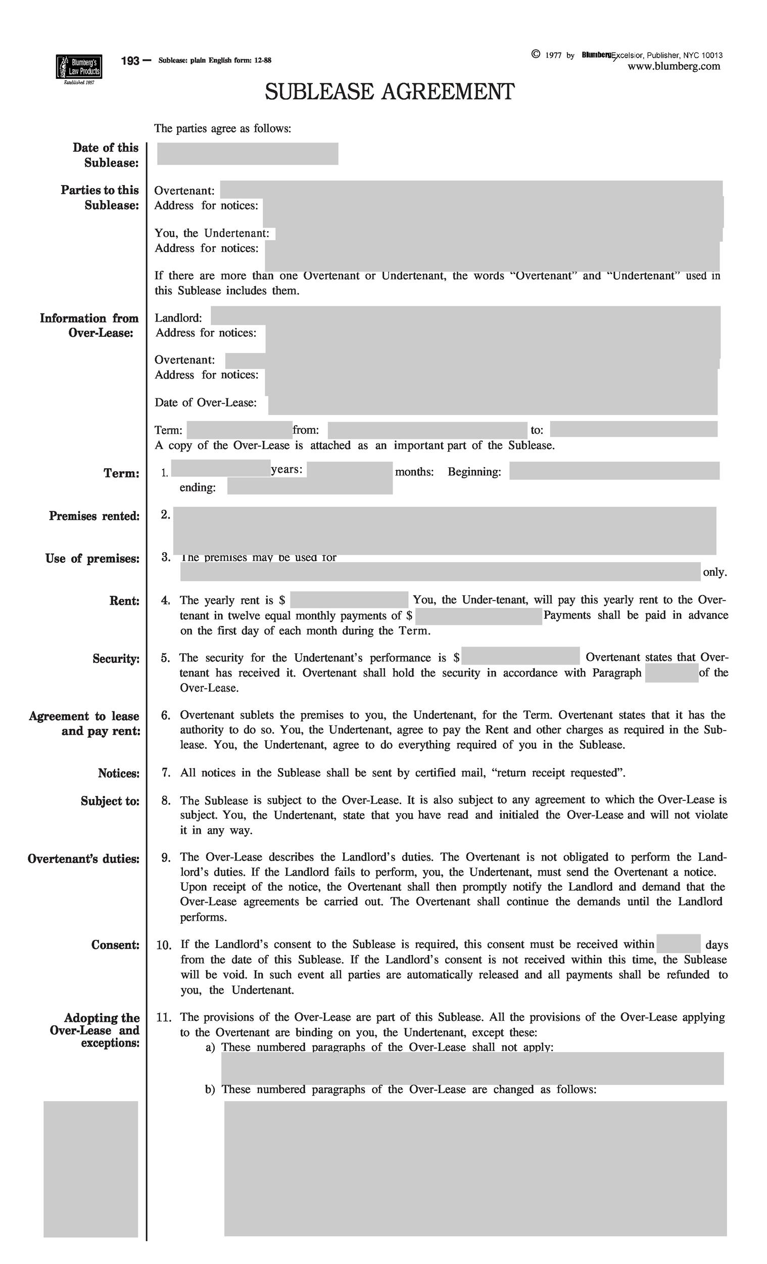 Free Sublease Agreement Template 03 Printable