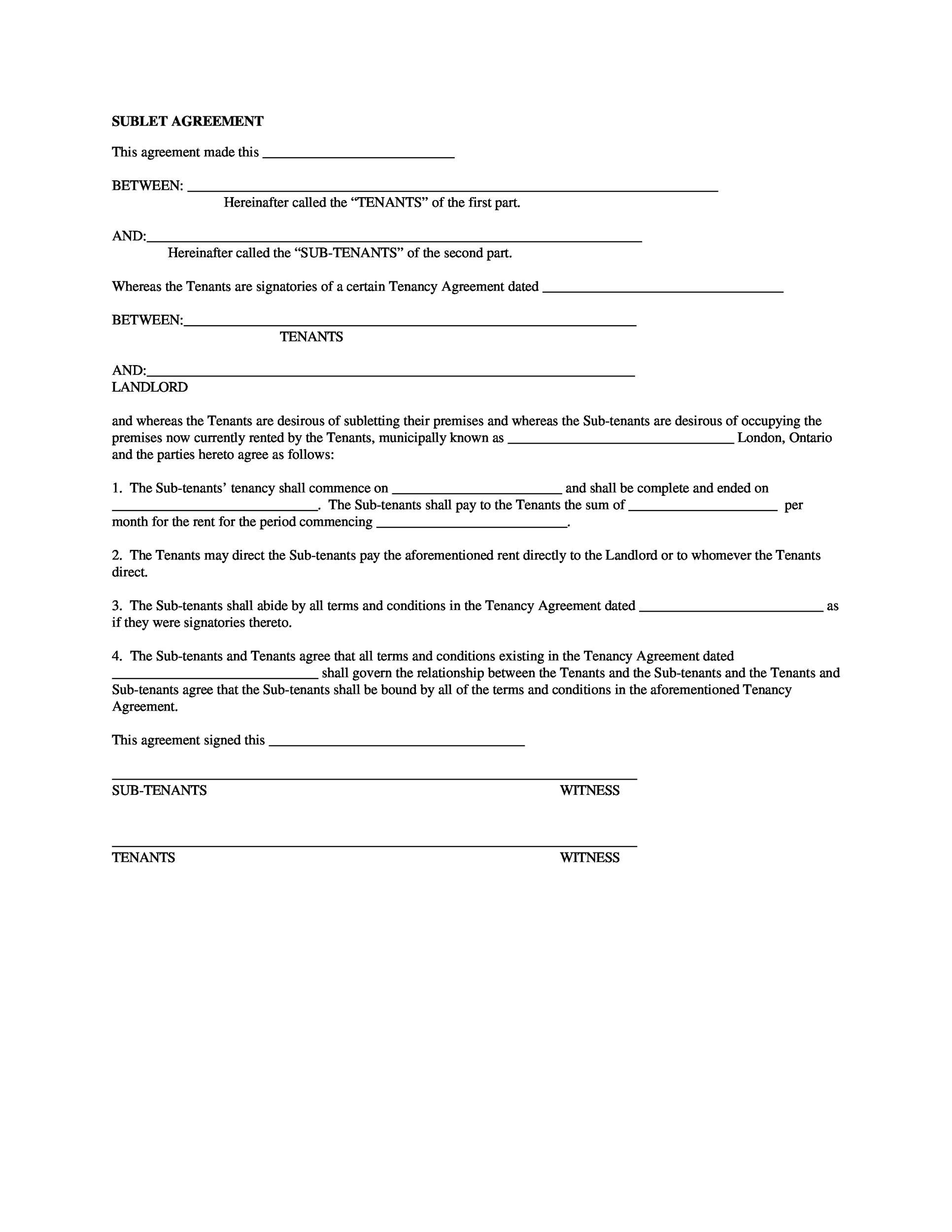 Free Sublease Agreement Template 04