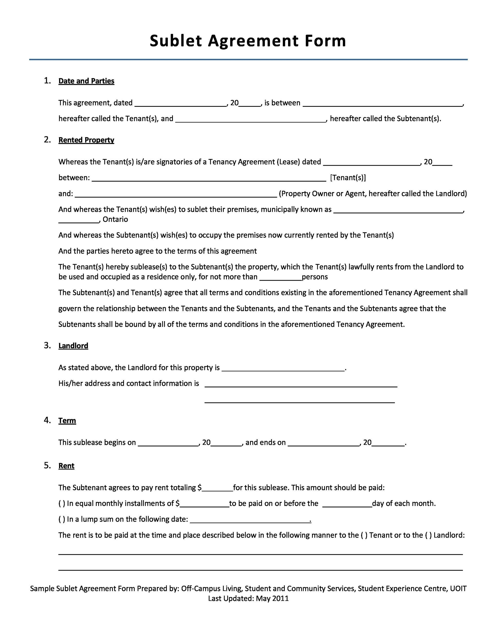 Professional Sublease Agreement Templates  Forms  Template Lab