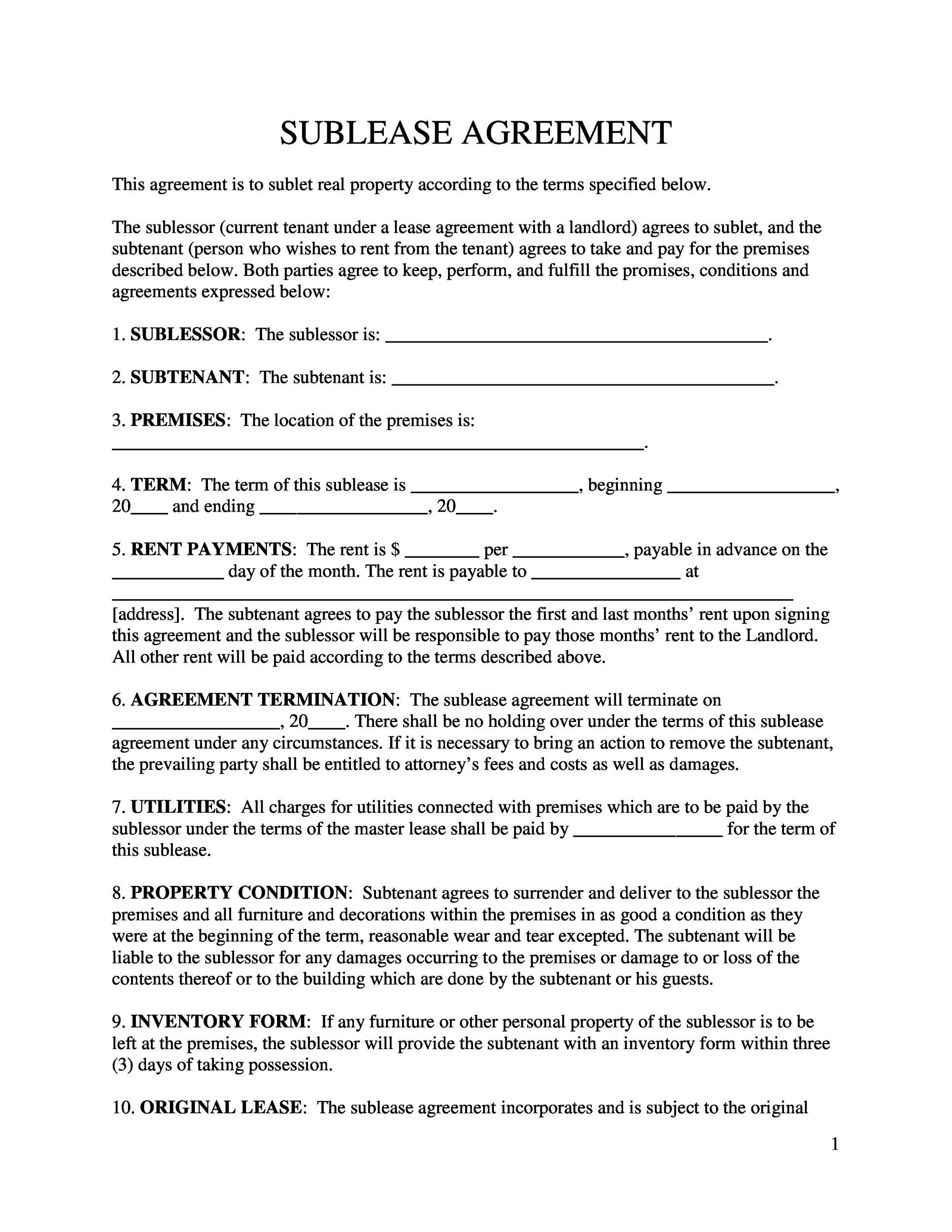 Printable Sublease Agreement Template 09  Free Landlord Inventory Template