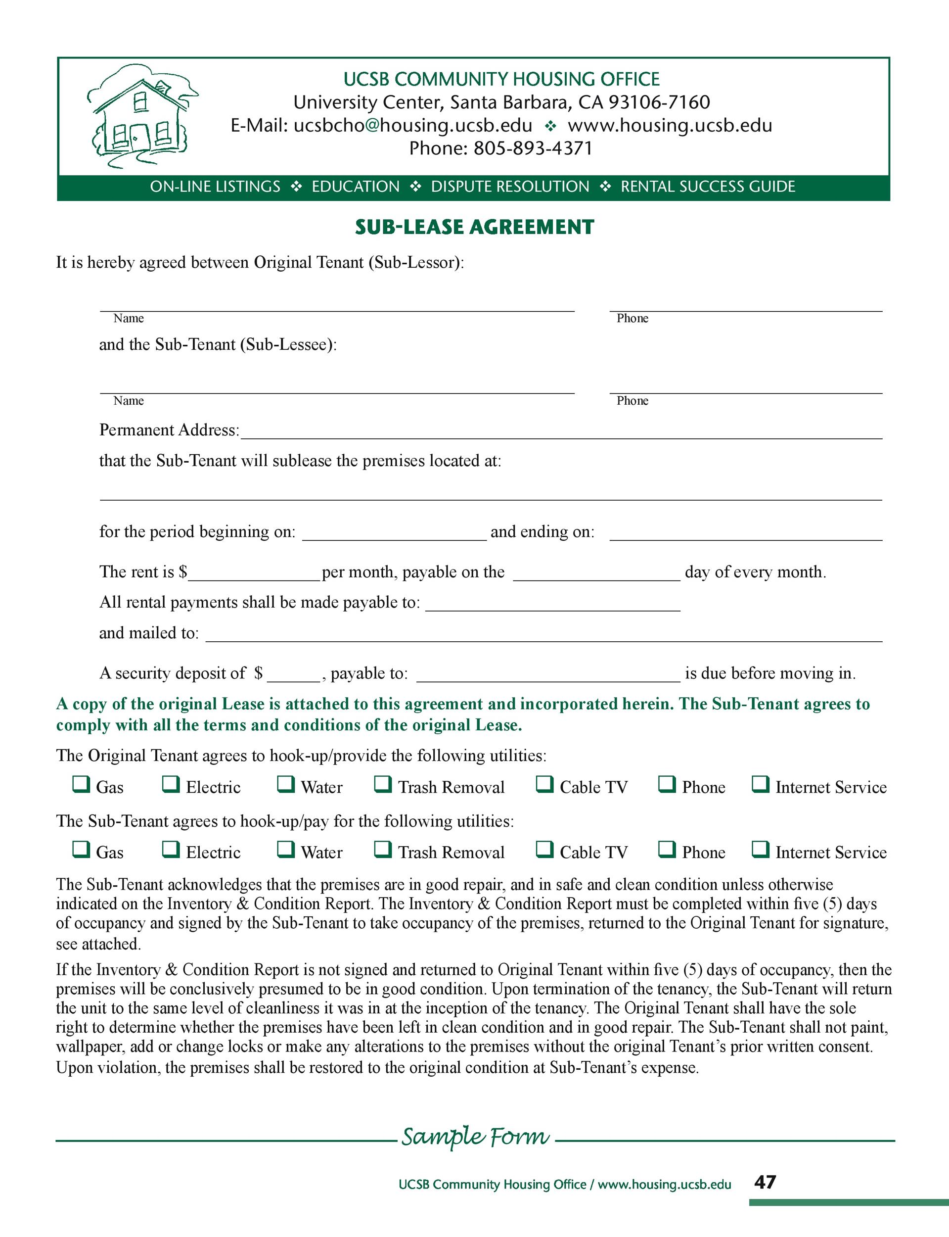 Free Sublease Agreement Template 10