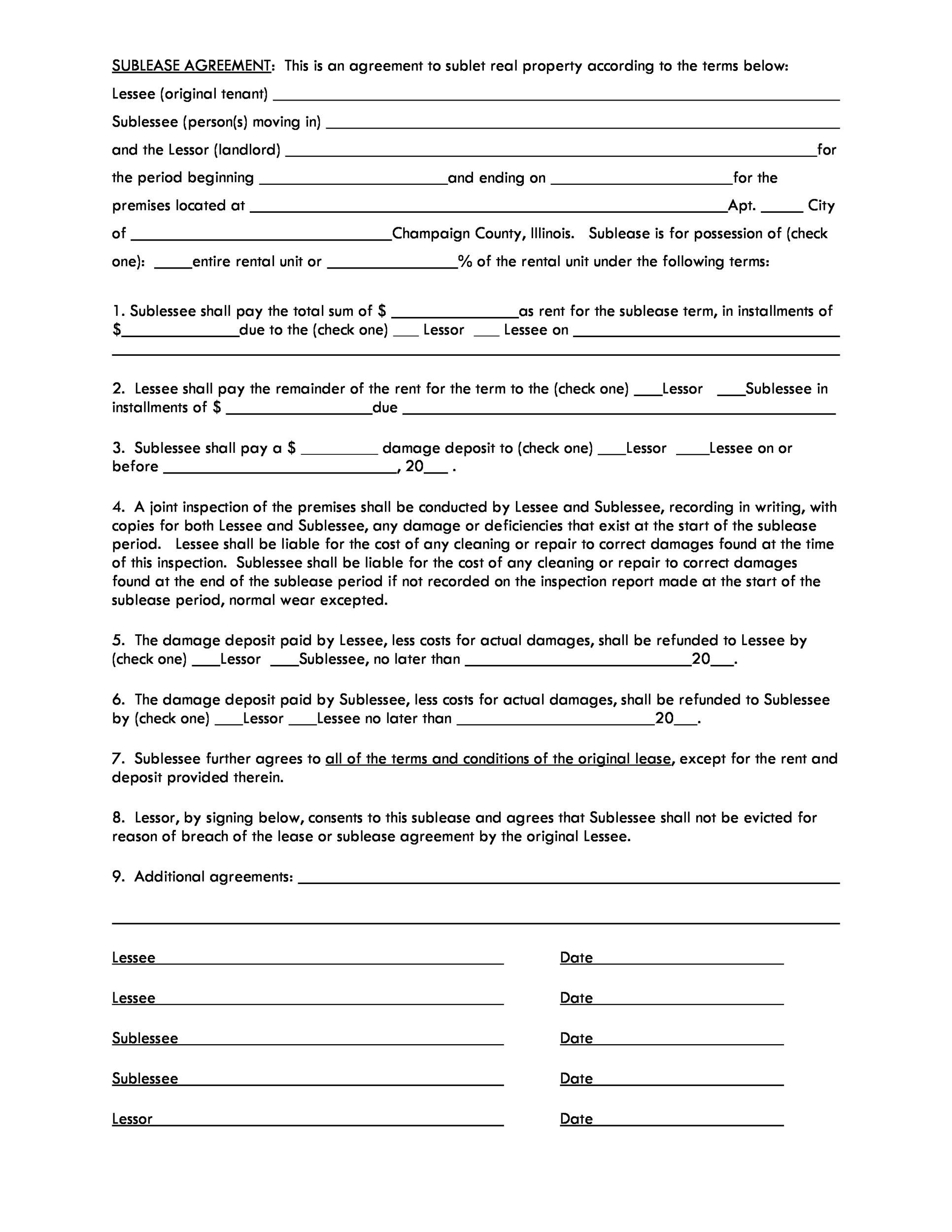 Free Sublease Agreement Template 11