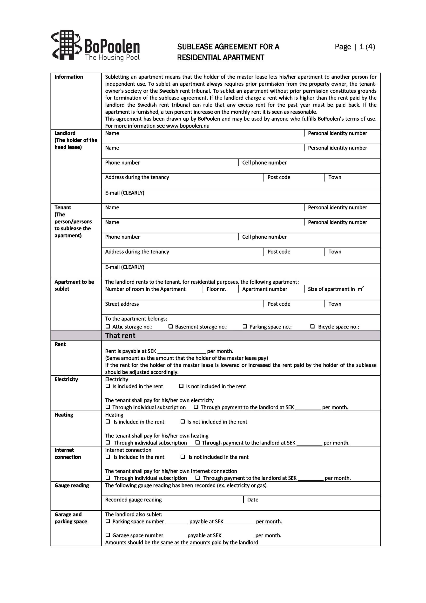 Free Sublease Agreement Template 14