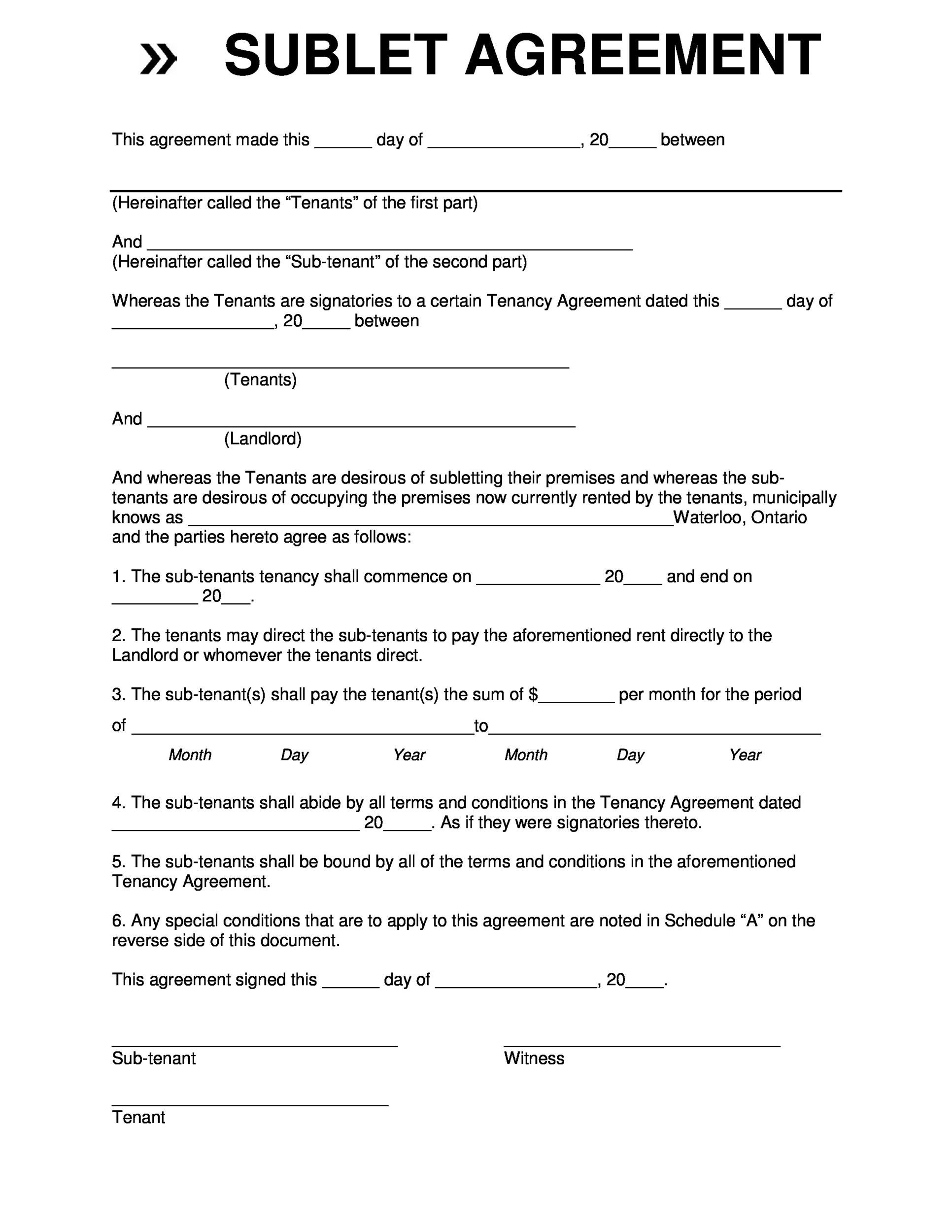Printable Sublease Agreement Template 19  Free Printable Tenancy Agreement