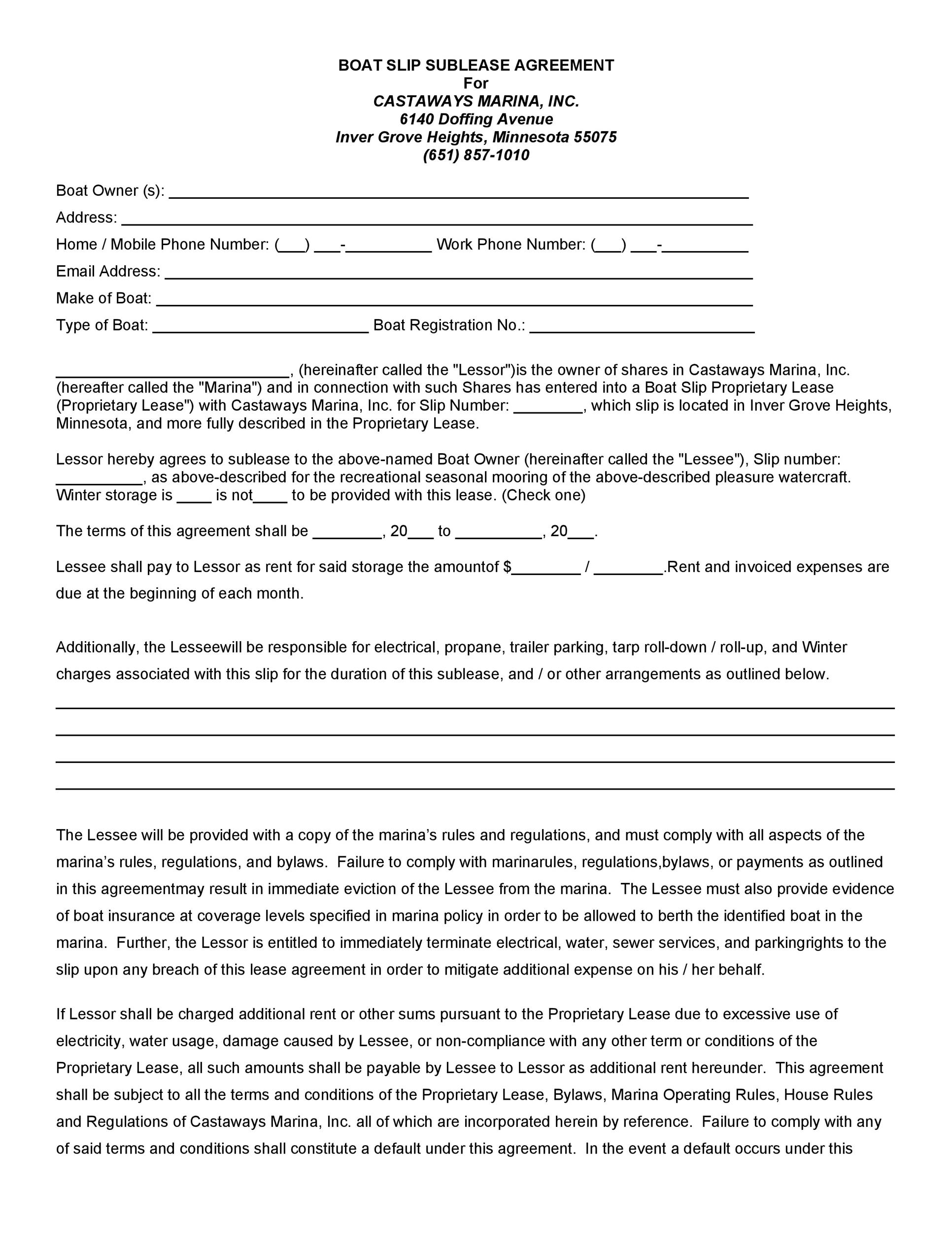 Free Sublease Agreement Template 20