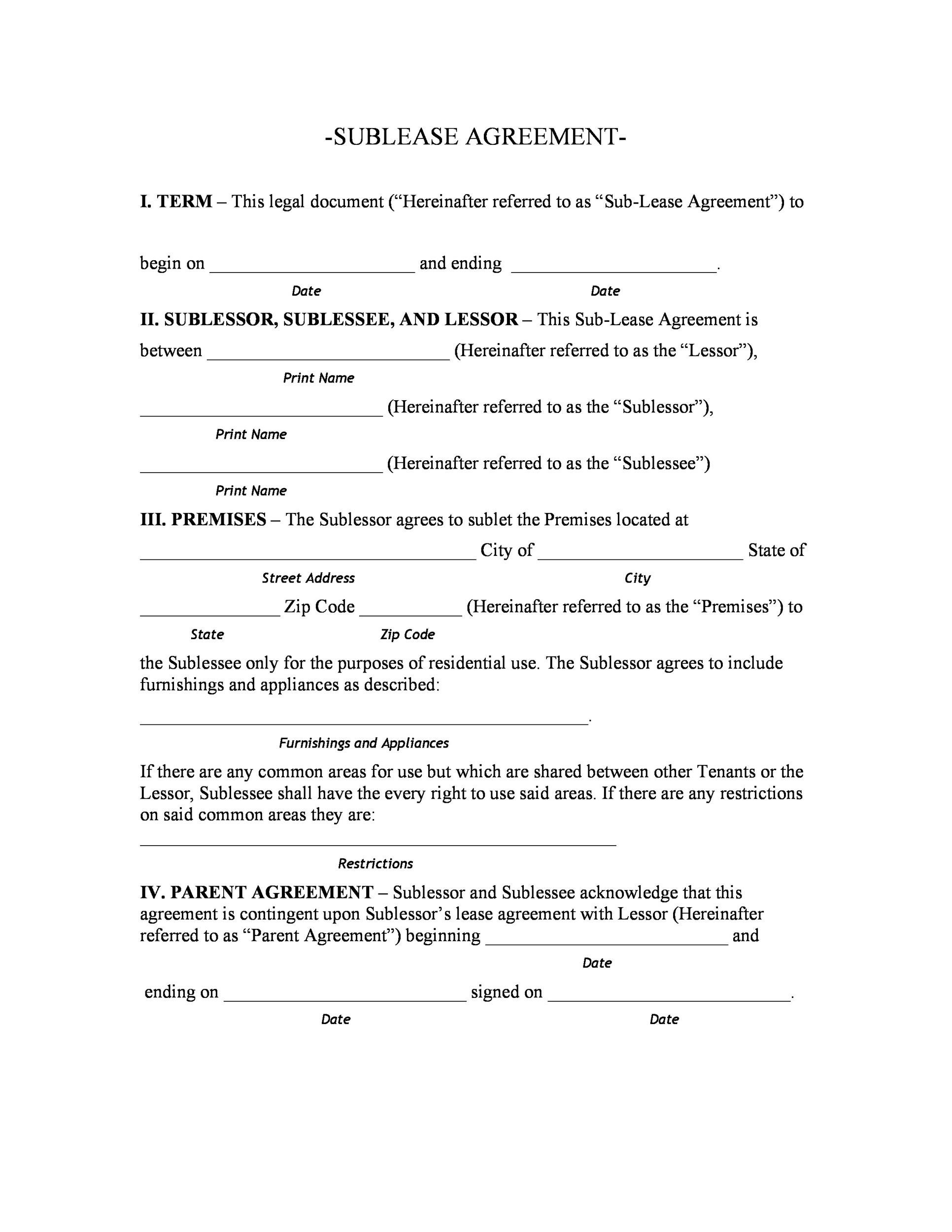 40 professional sublease agreement templates forms template lab printable sublease agreement template 22 platinumwayz