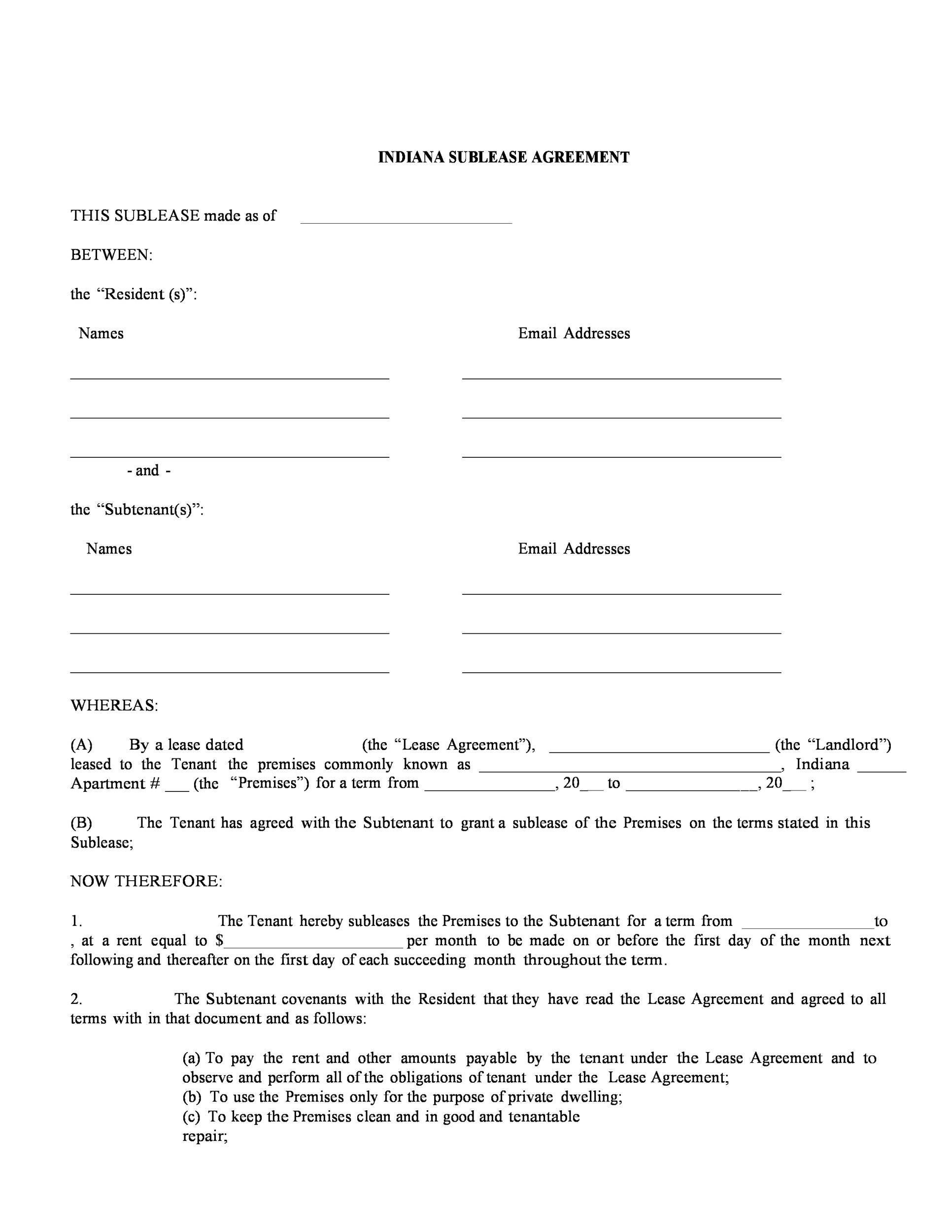Free Sublease Agreement Template 23