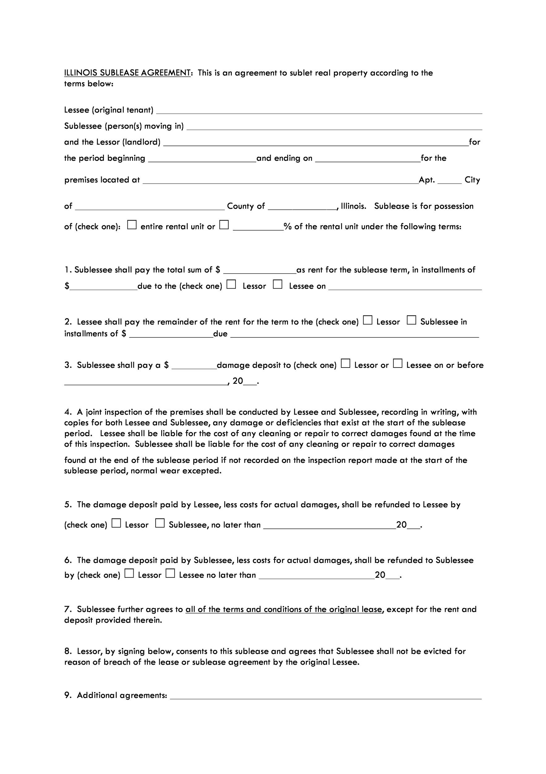 Free Sublease Agreement Template 25
