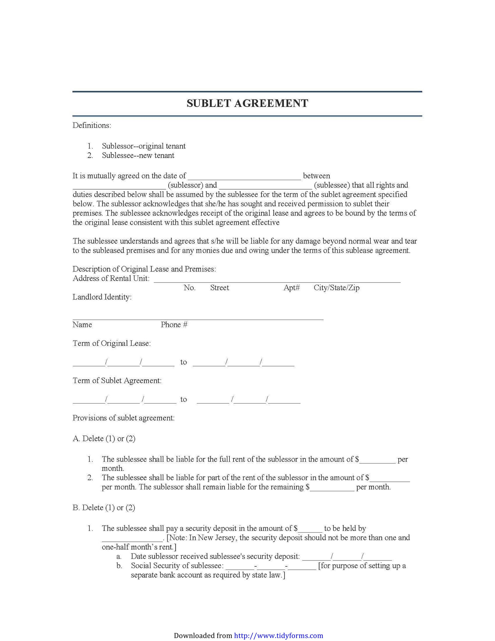 Free Sublease Agreement Template 26 Printable