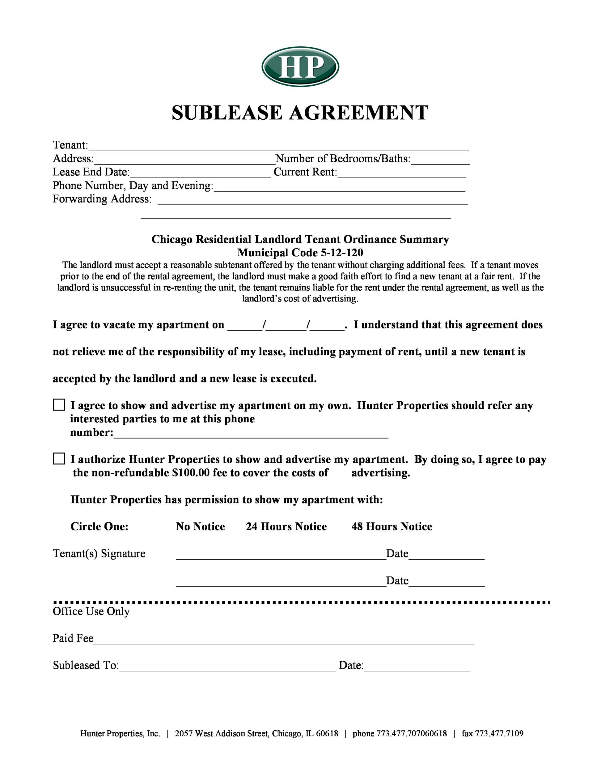 Free Sublease Agreement Template 27