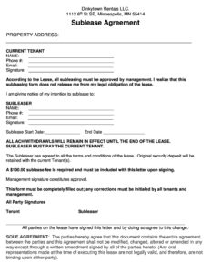 sublease agreement template 28