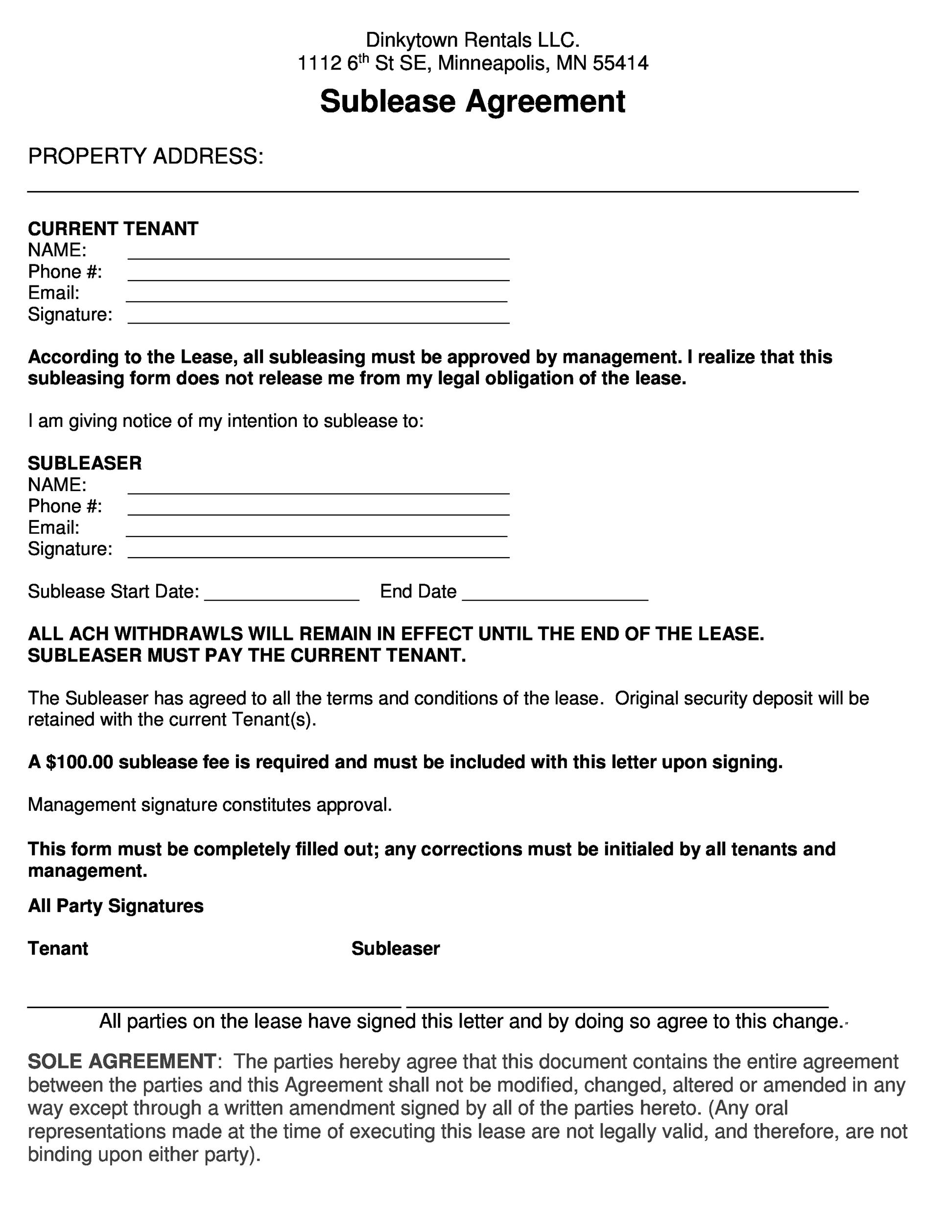 Free Sublease Agreement Template 28 Printable